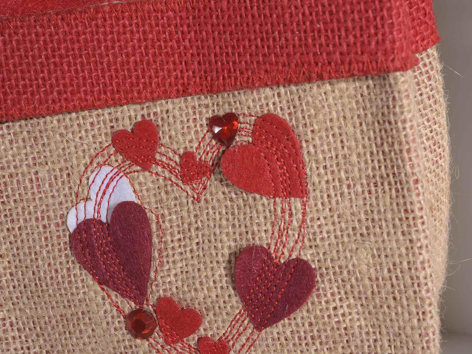 ca5e89cf4 Set 2 bolsitas de pano y yute con corazones decorativos (58.04.11 ...