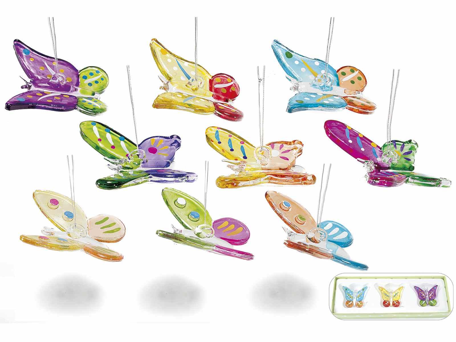 c7e4be6f2e0 Mariposas de vidrio coloreado para colgar (80.13.15) - Art From Italy