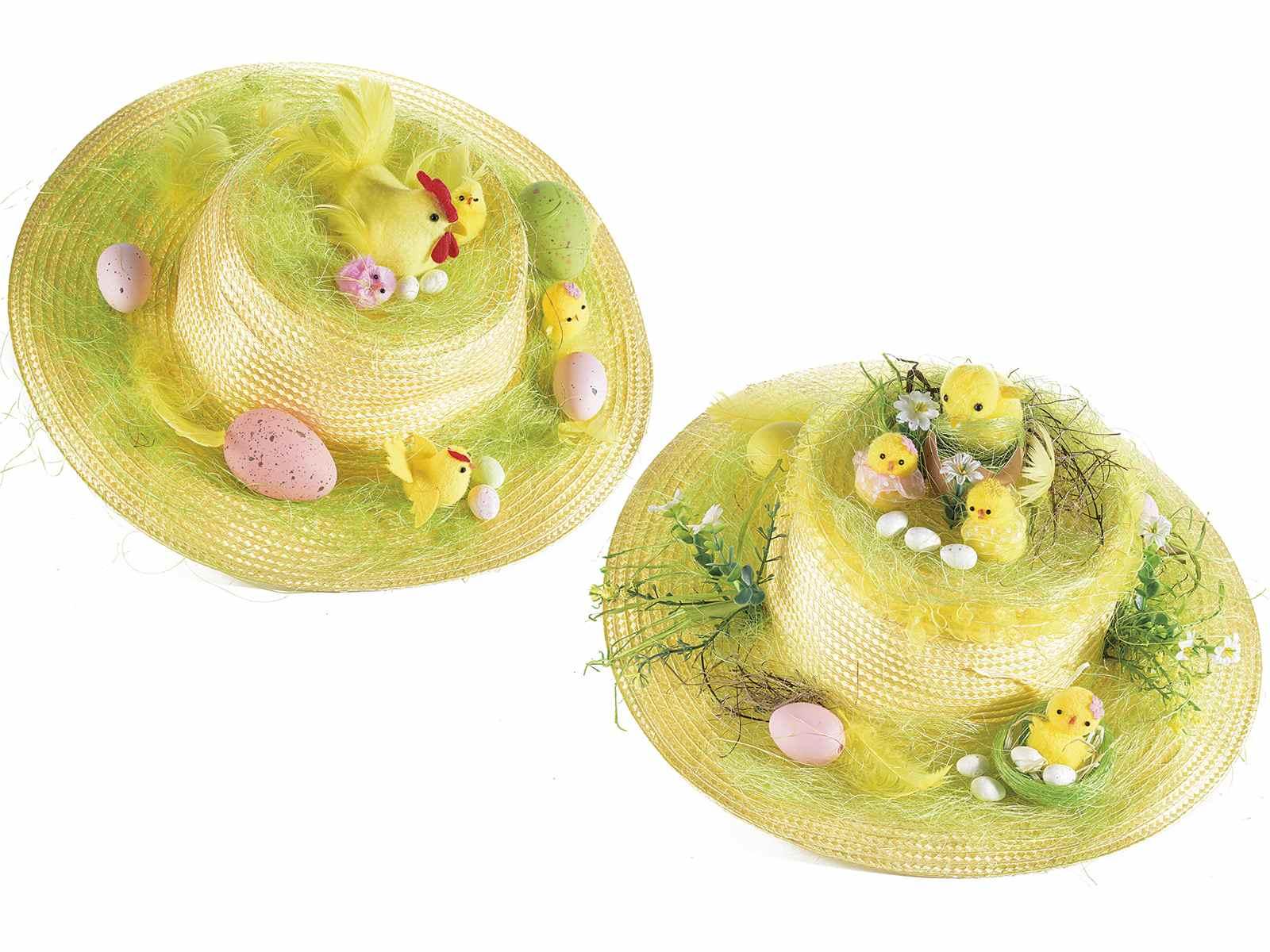 Sombrero de paja con decoraciones de Pascua (58.05.22) - Art From Italy 97d58696cf9
