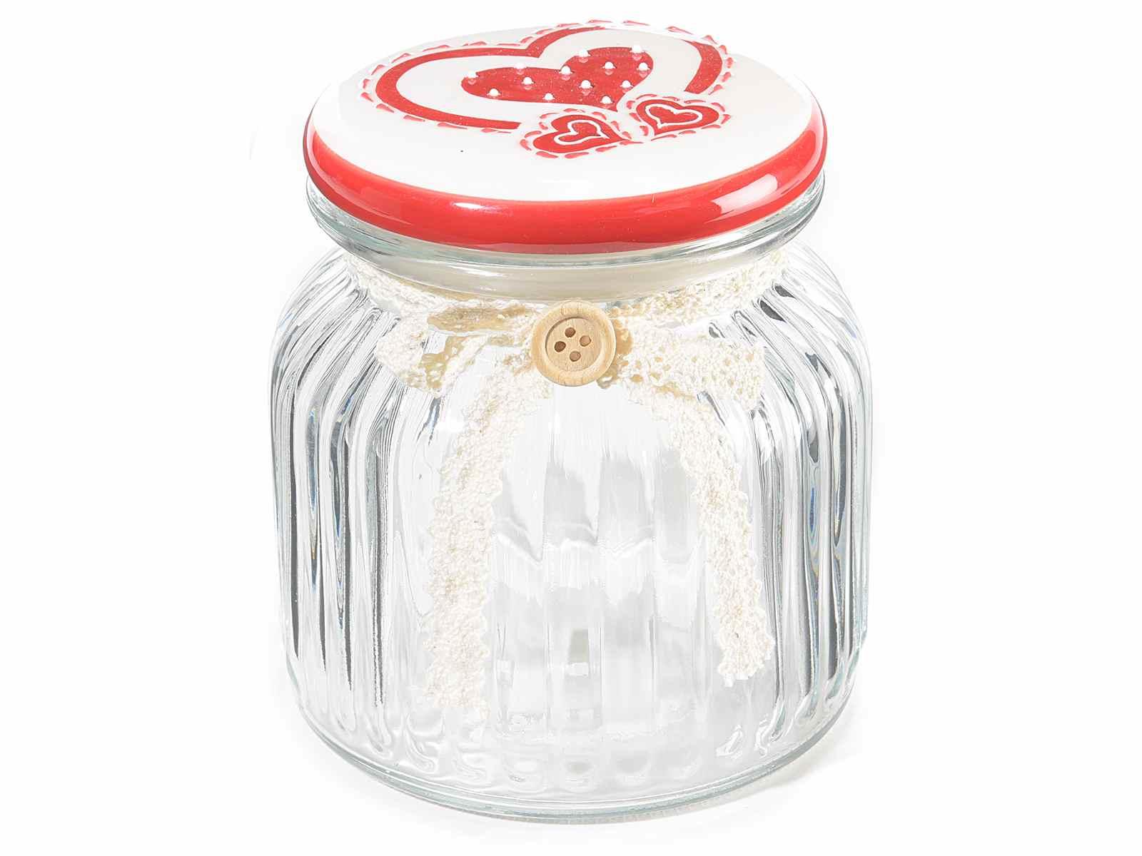 Tarro de vidrio con tapa en ceramica y copo en encaje 80 - Tarro cristal con tapa ...