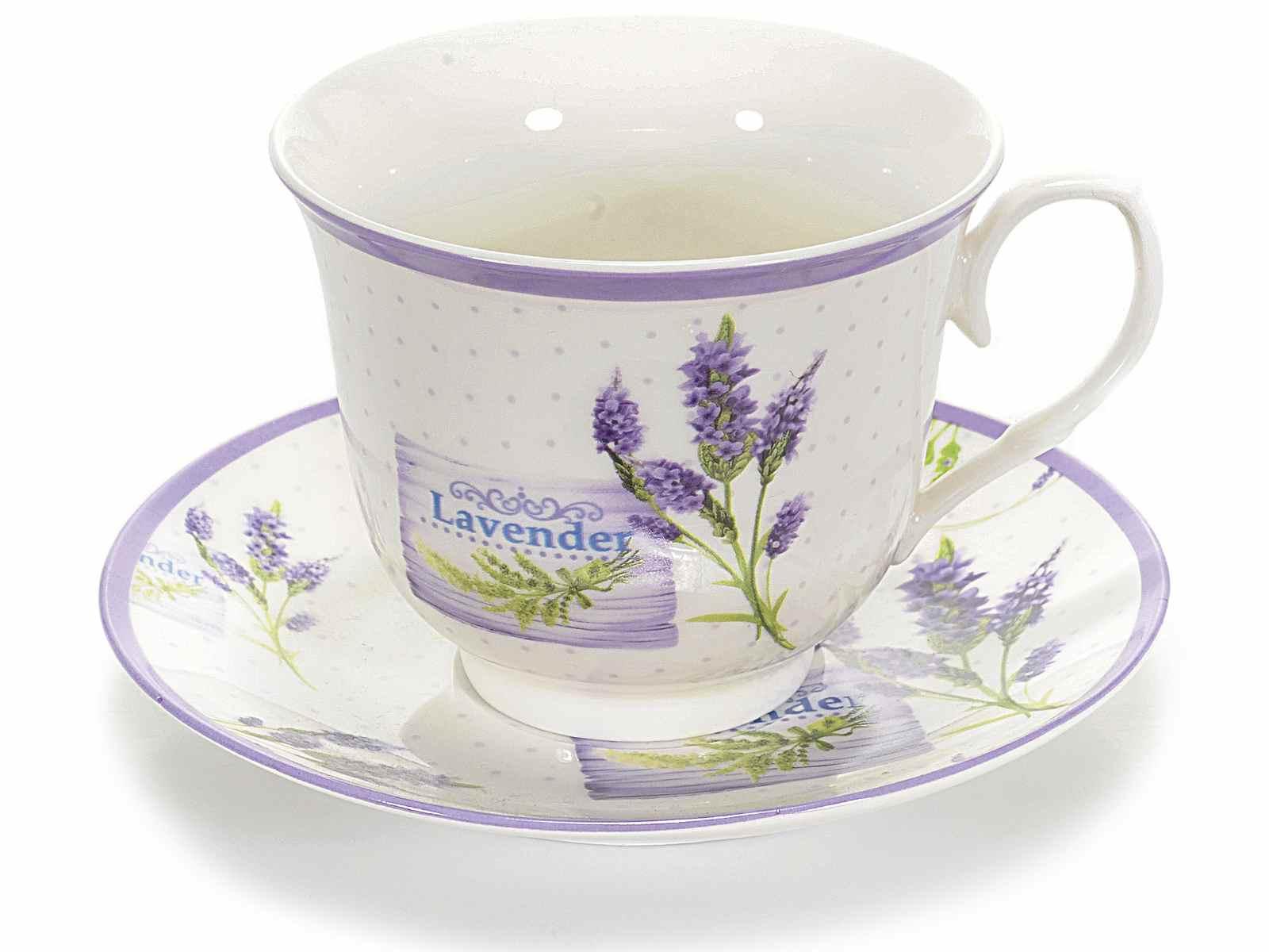 Taza t con decoracion lavanda y plato de ceramica - Ceramica decoracion ...
