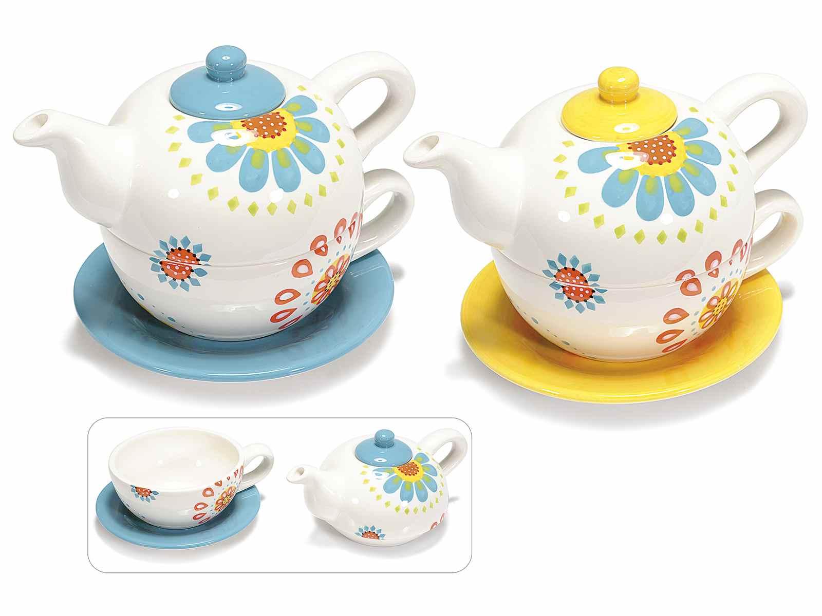 Set tetera y taza con plato de ceramica y flores Stickers decorativos para ceramica