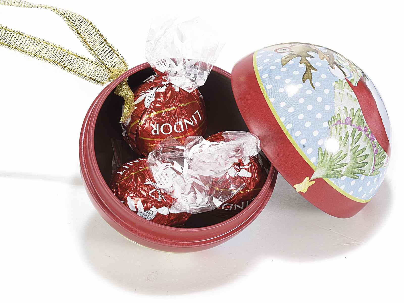 Boule en métal ouvrable à suspendre avec déco Noël (53.21.50