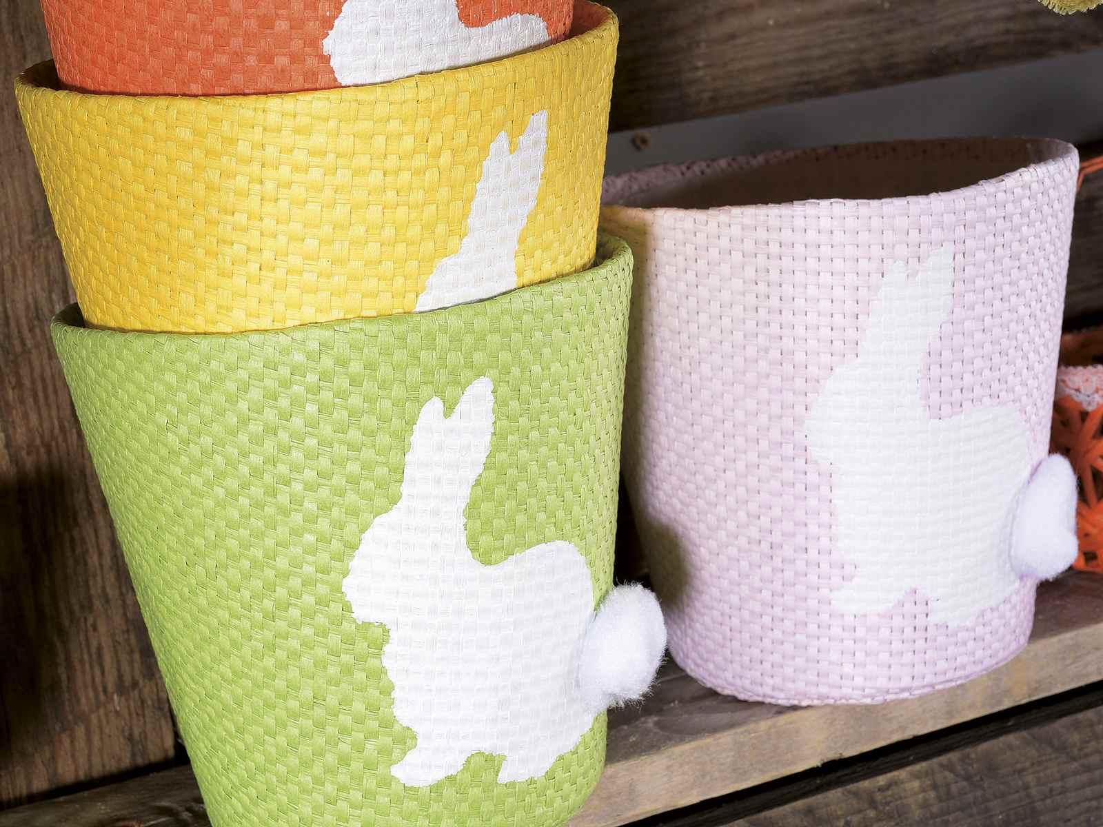 Pot en papier couleur deco lapin et revetement interieur - Pot deco interieur ...