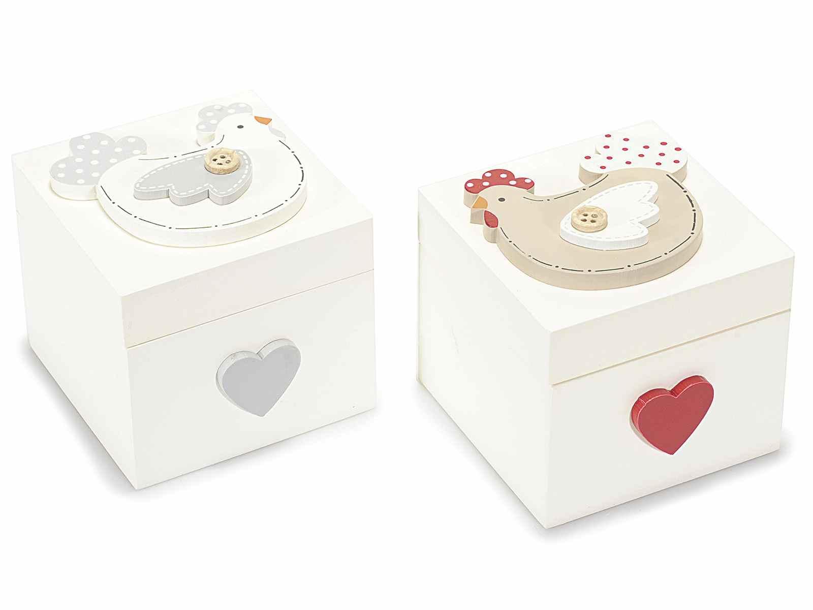 Caja de madera con tapa decorada con gallina for Caja madera con tapa