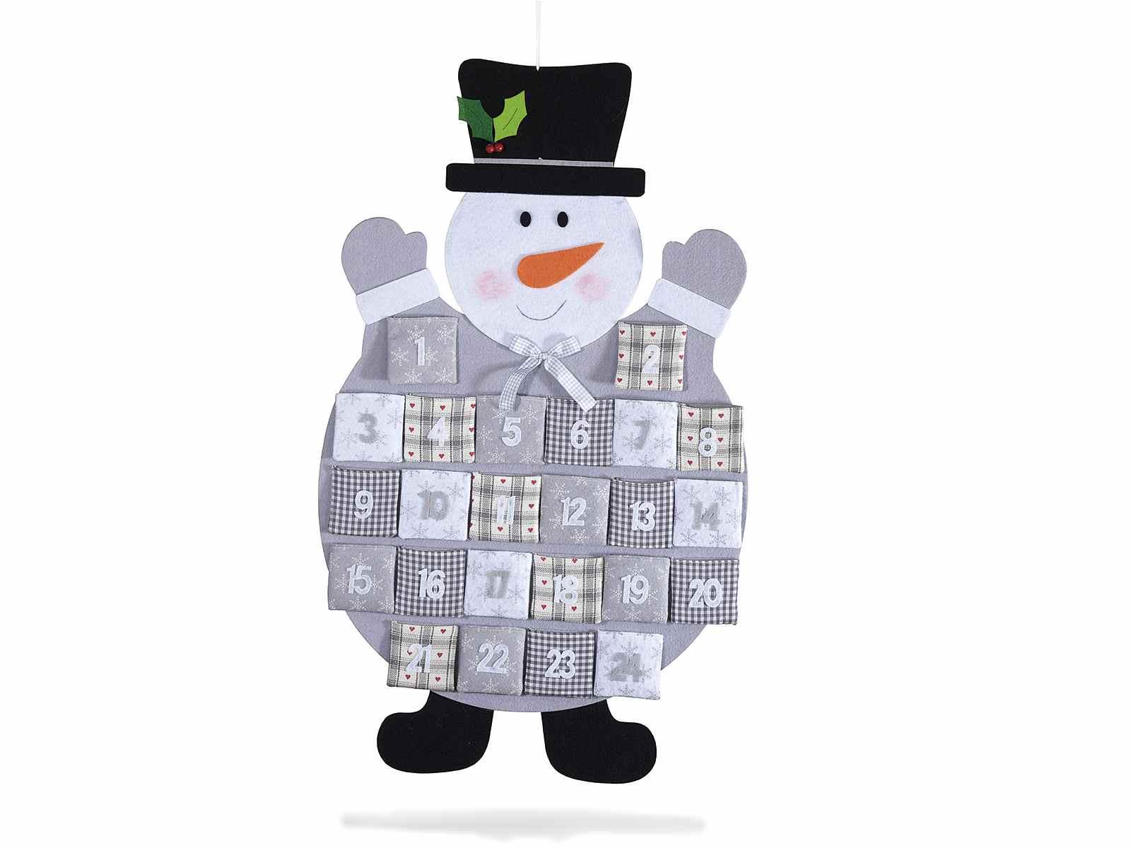 Calendrier de l 39 avent en feutre bonhomme de neige avec - Calendrier de l avent en bonhomme de neige ...