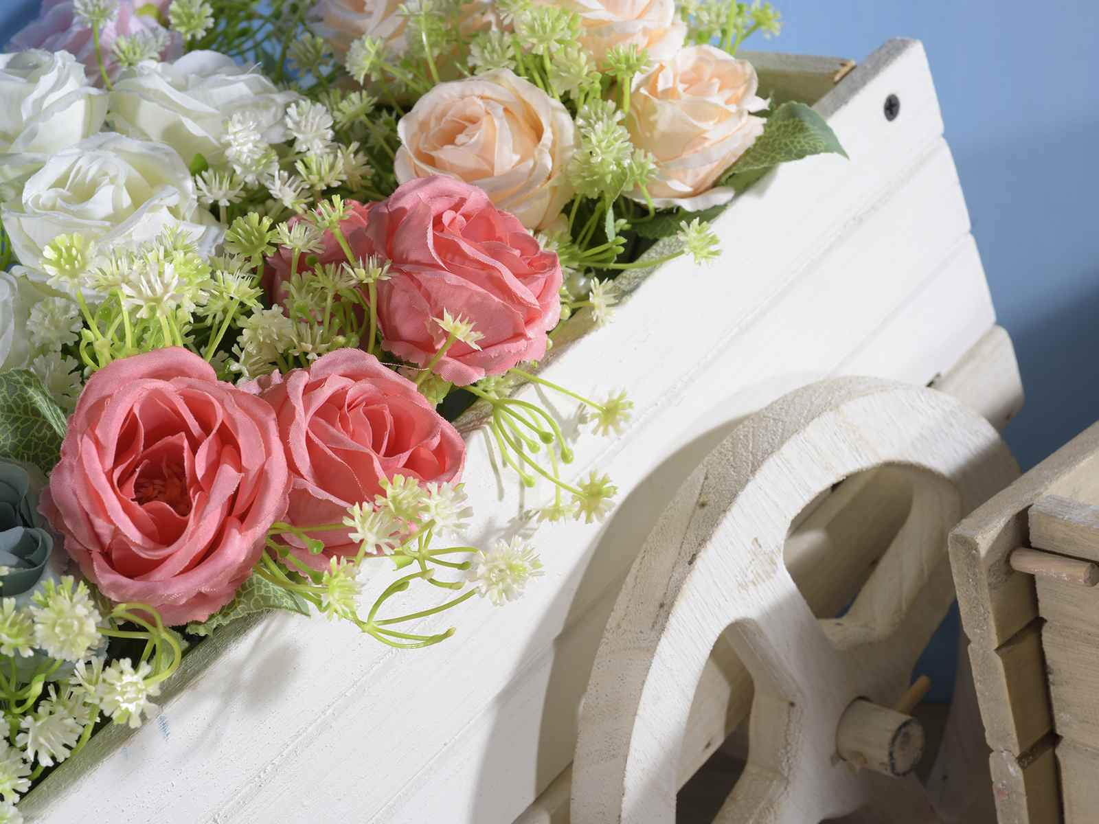 Carriola decorativa grande in legno colorato art from italy - Carriola in legno da giardino ...
