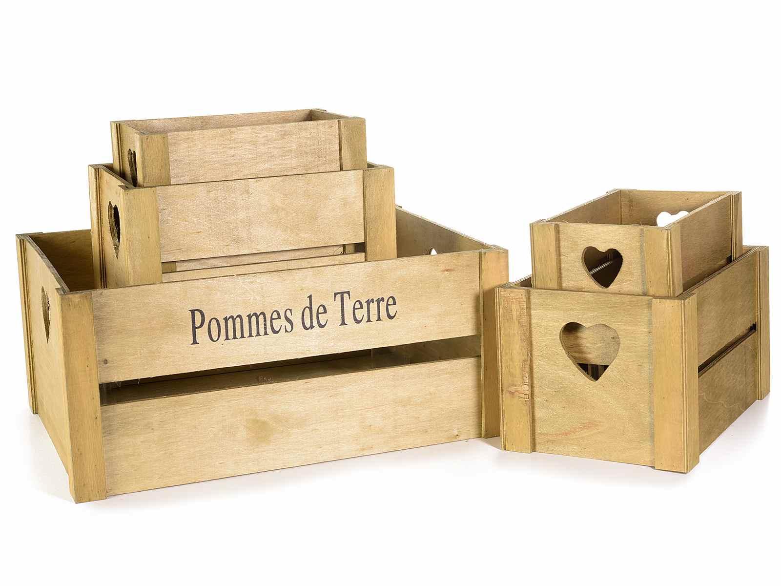 Set 5 Cassette In Legno Pommes De Terre Con Intarsio Cuore 51 18
