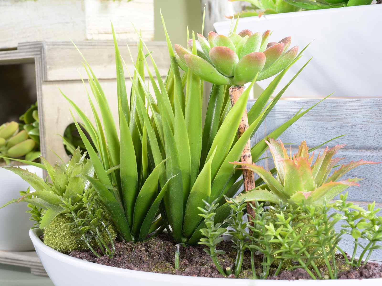 Composizione di piante grasse artificiali in vaso di for Composizione di piante grasse in grande vaso