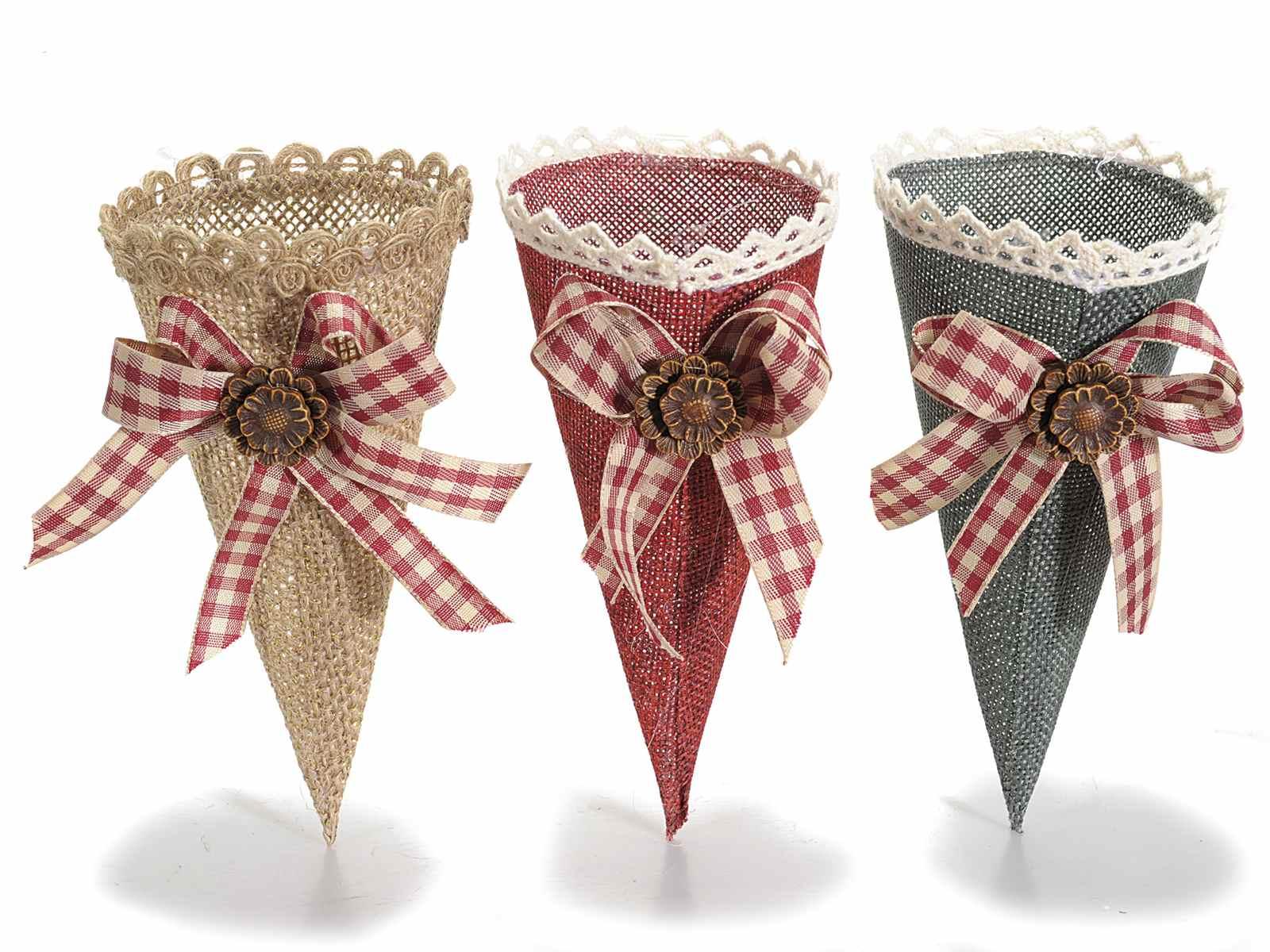 Conos de papel para peladillas con saquito de tela - Saquitos de tela ...