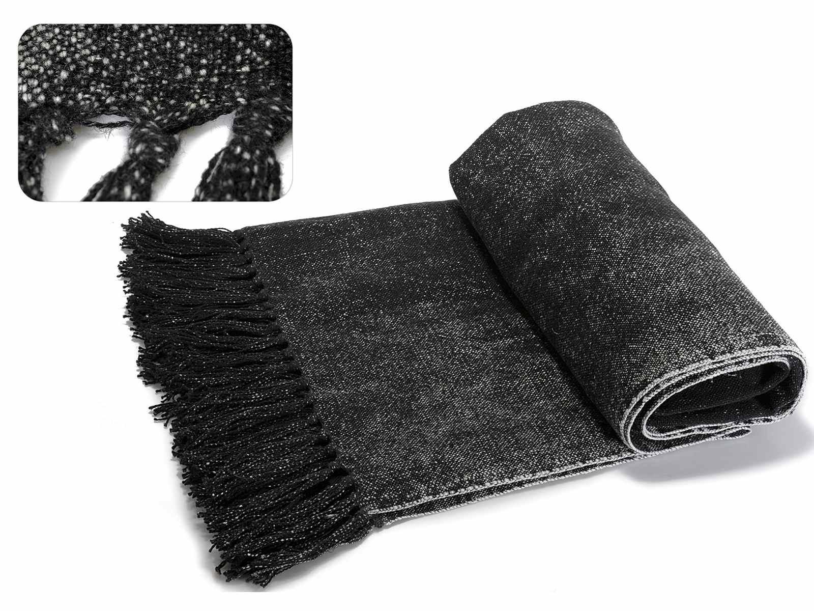 Couverture en coton et lin noir melange avec franges 45 - Couverture en coton ...