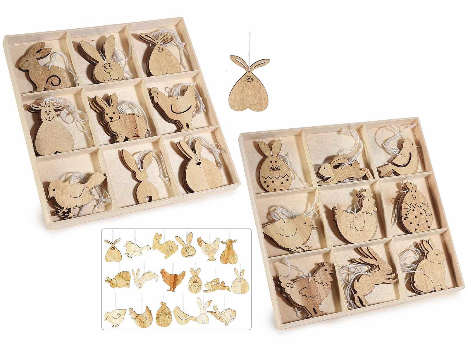 Scatola 36 decori pasquali in legno naturale da appendere art from italy - Decorazioni legno ...