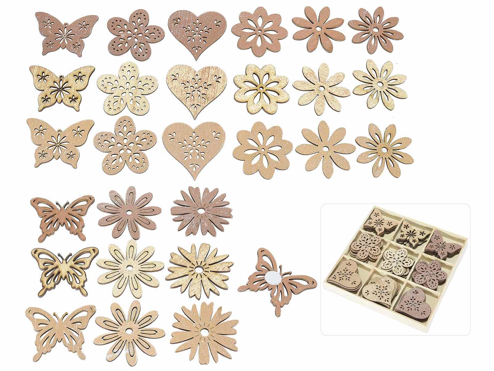 Scatola 36 decori in legno naturale con adesivo - Decorazioni in legno ...
