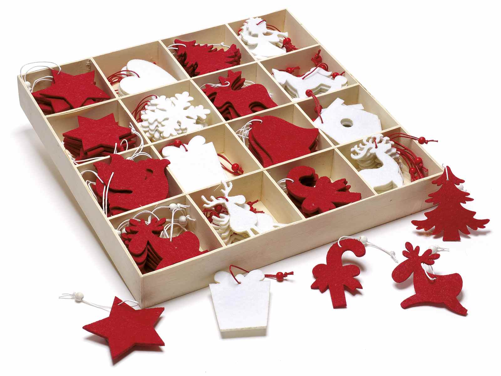 Espositore 192 decorazioni natalizie in panno da appendere for Decorazioni da tavolo natalizie