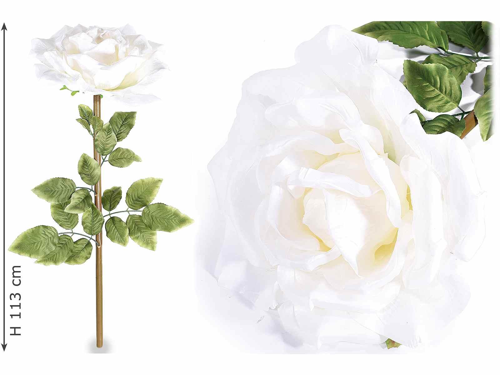 Rose g ante blanche en tissu avec tige vis - Rose avec tige ...