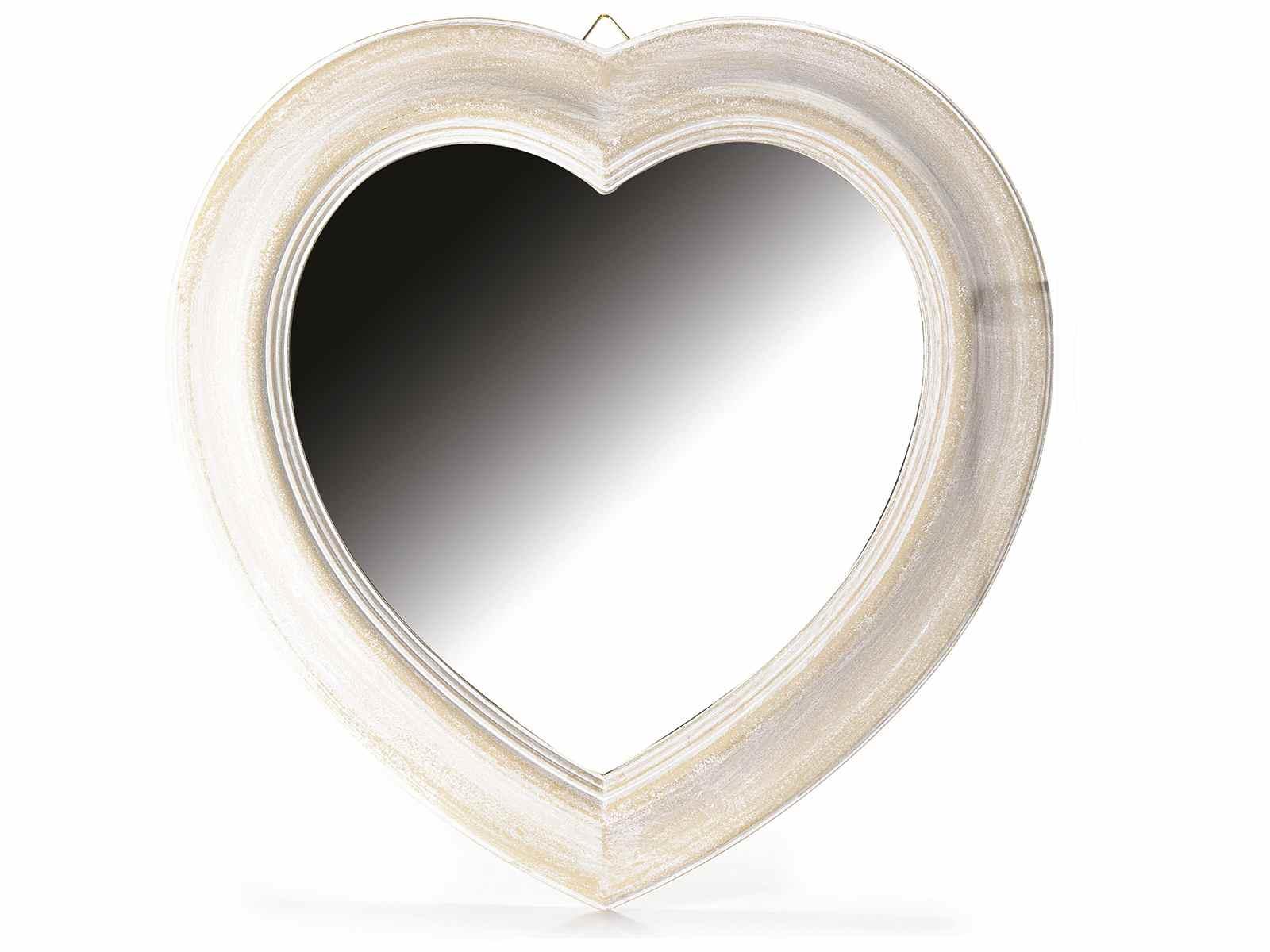 Espejo en forma de coraz n con marco en madera para colgar - Colgar espejo pared sin marco ...