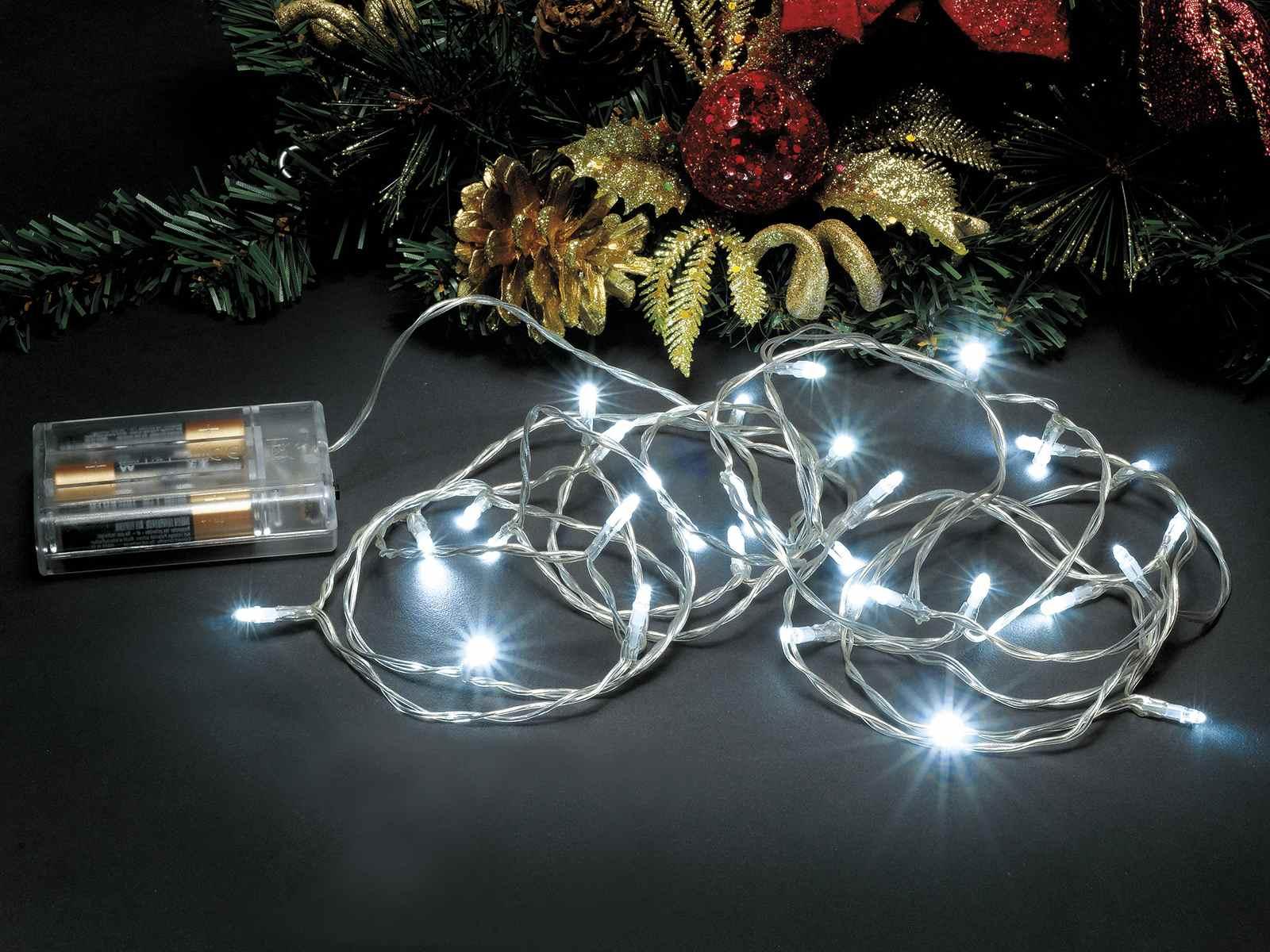 Filo luci a batteria 2 70m 30 led bianco freddo cavo for Luci led piccole