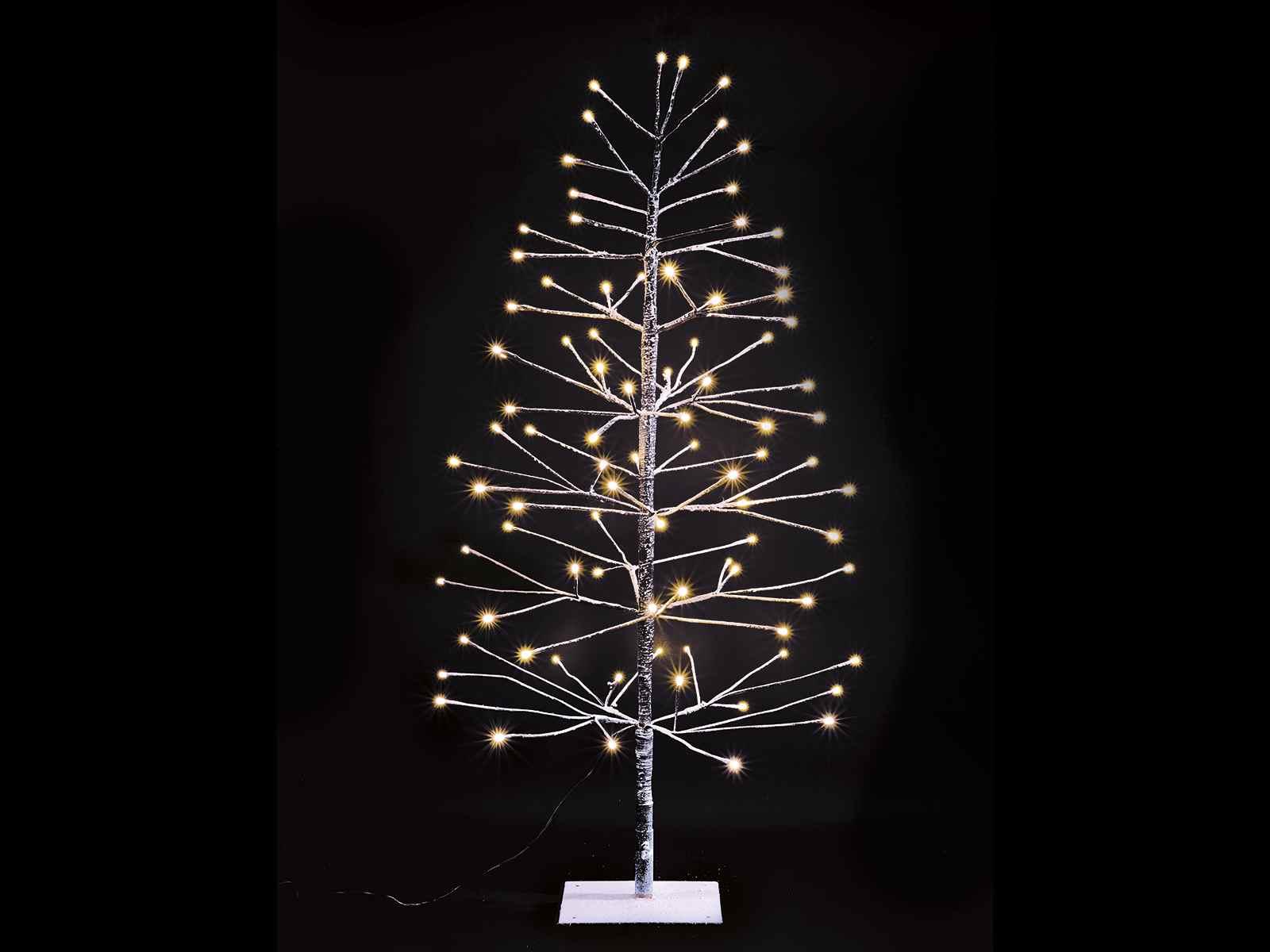 Albero natalizio marrone innevato c 96 luci led bianco for Obi albero di natale