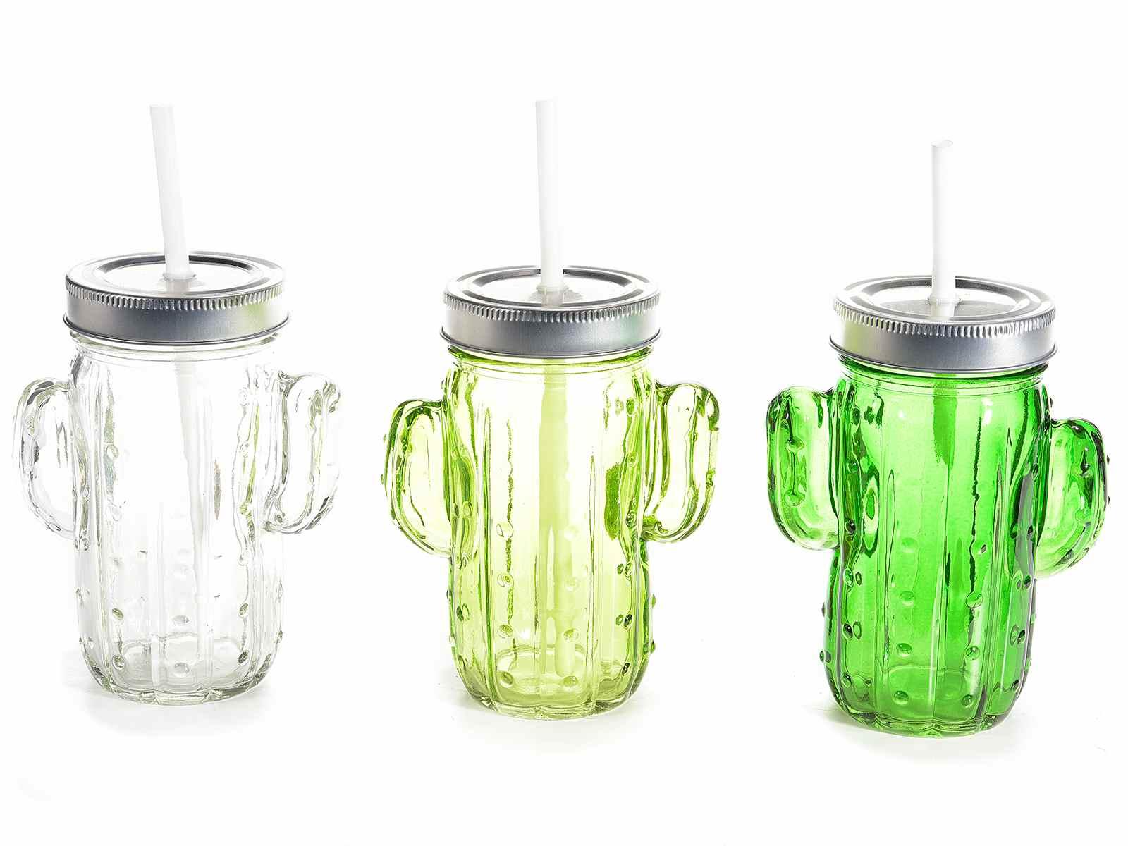 Boccale in vetro a cactus con cannuccia art - Mobiletti in vetro ...