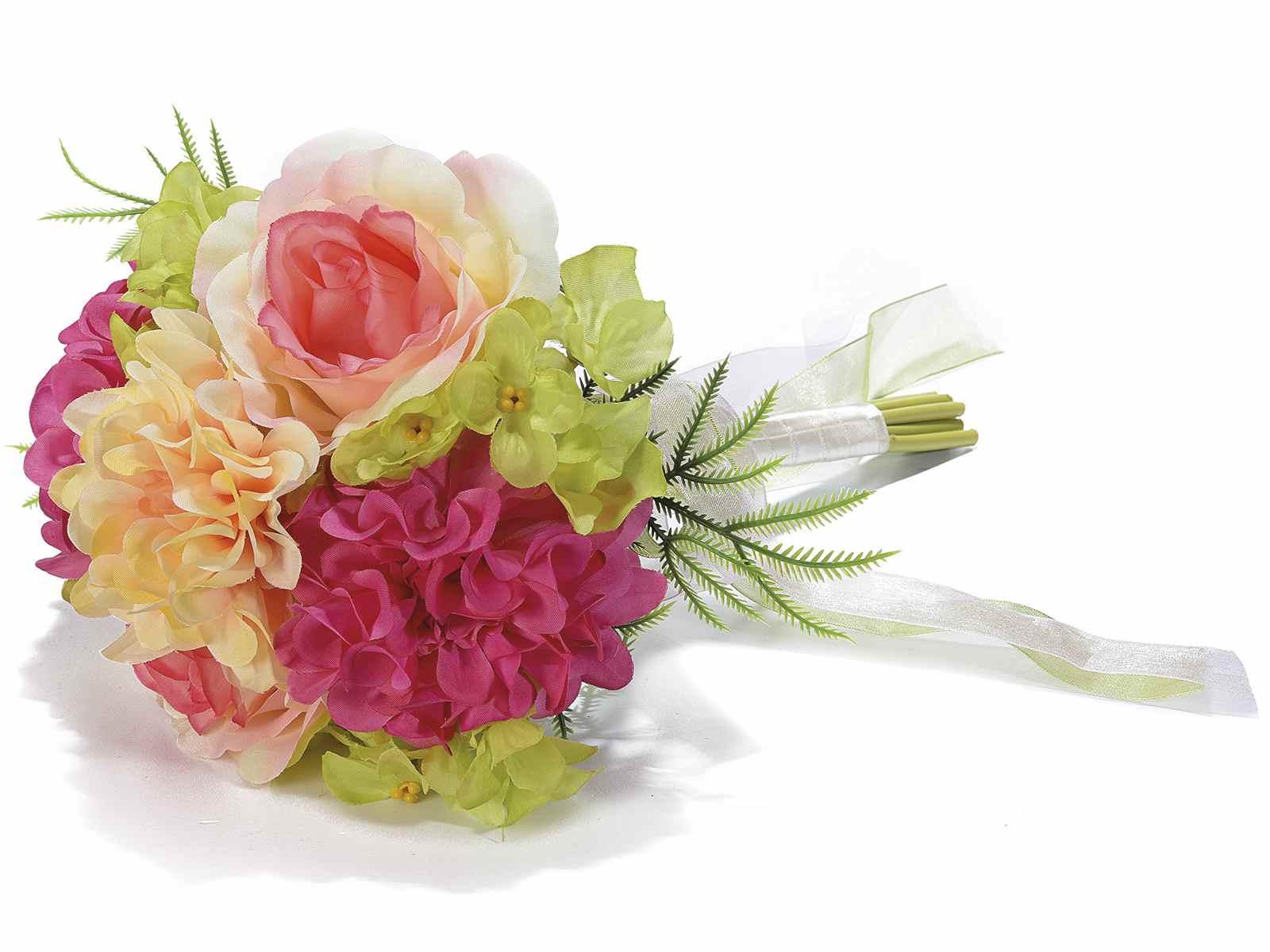 Vaso Con Ortensie Finte bouquet rose,ortensie artificiali c/nastri in organza e raso