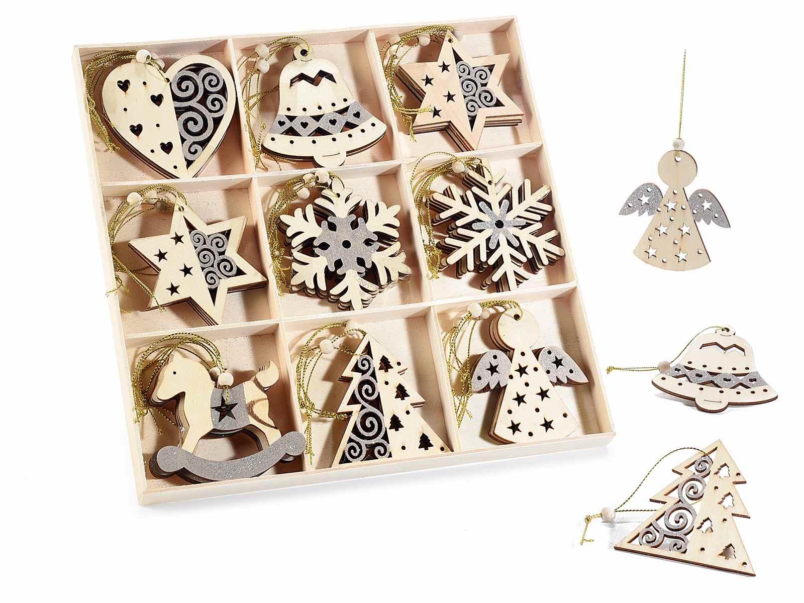 Espo 36 decorazioni natalizie legno da appendere c glitter for Decorazioni natalizie in legno da appendere