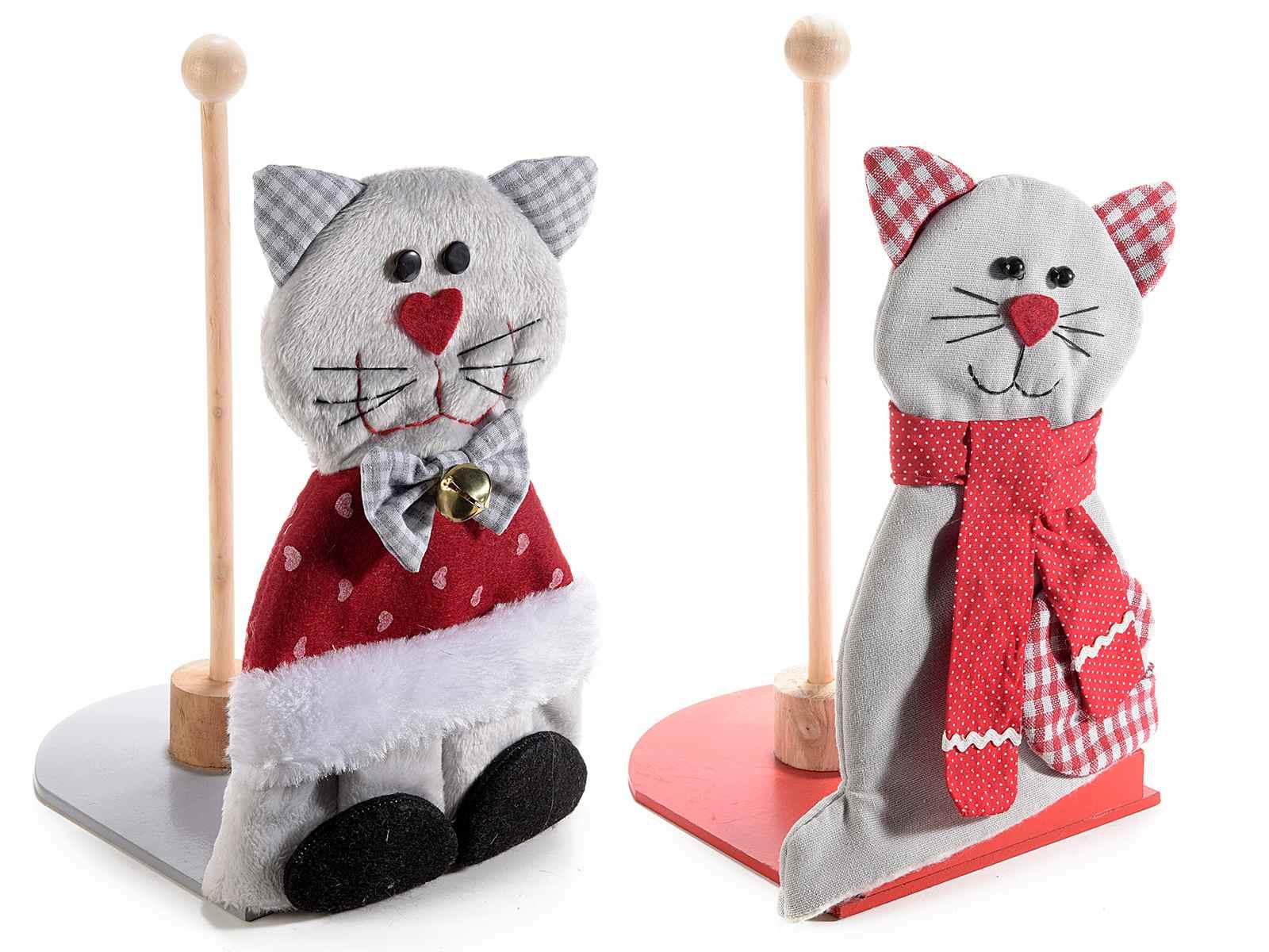 Gatto in feltro con portarotolo da cucina in legno (56.30.16) - Art ...