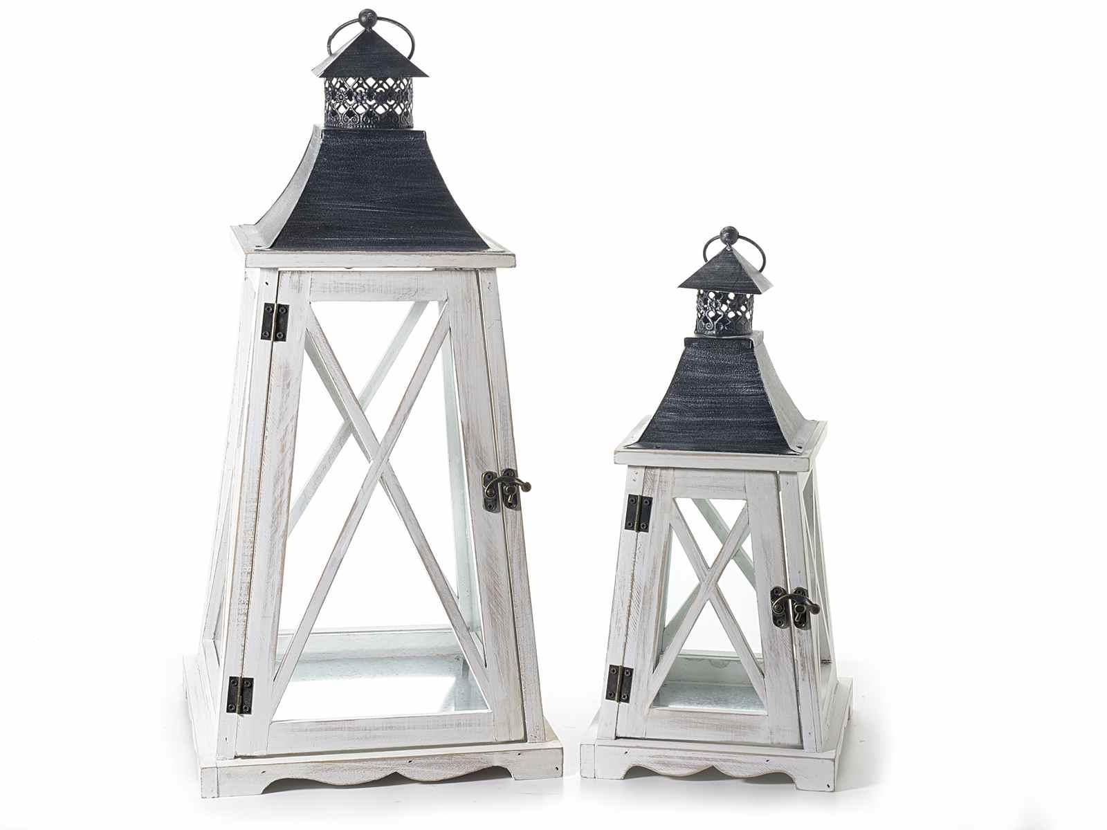 Set 2 lanterne in legno bianco con tetto in metallo for Lanterne in legno