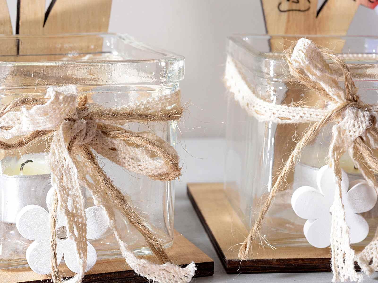 Porta tealight vetro con base in legno e coccinella - Porta tea light ...