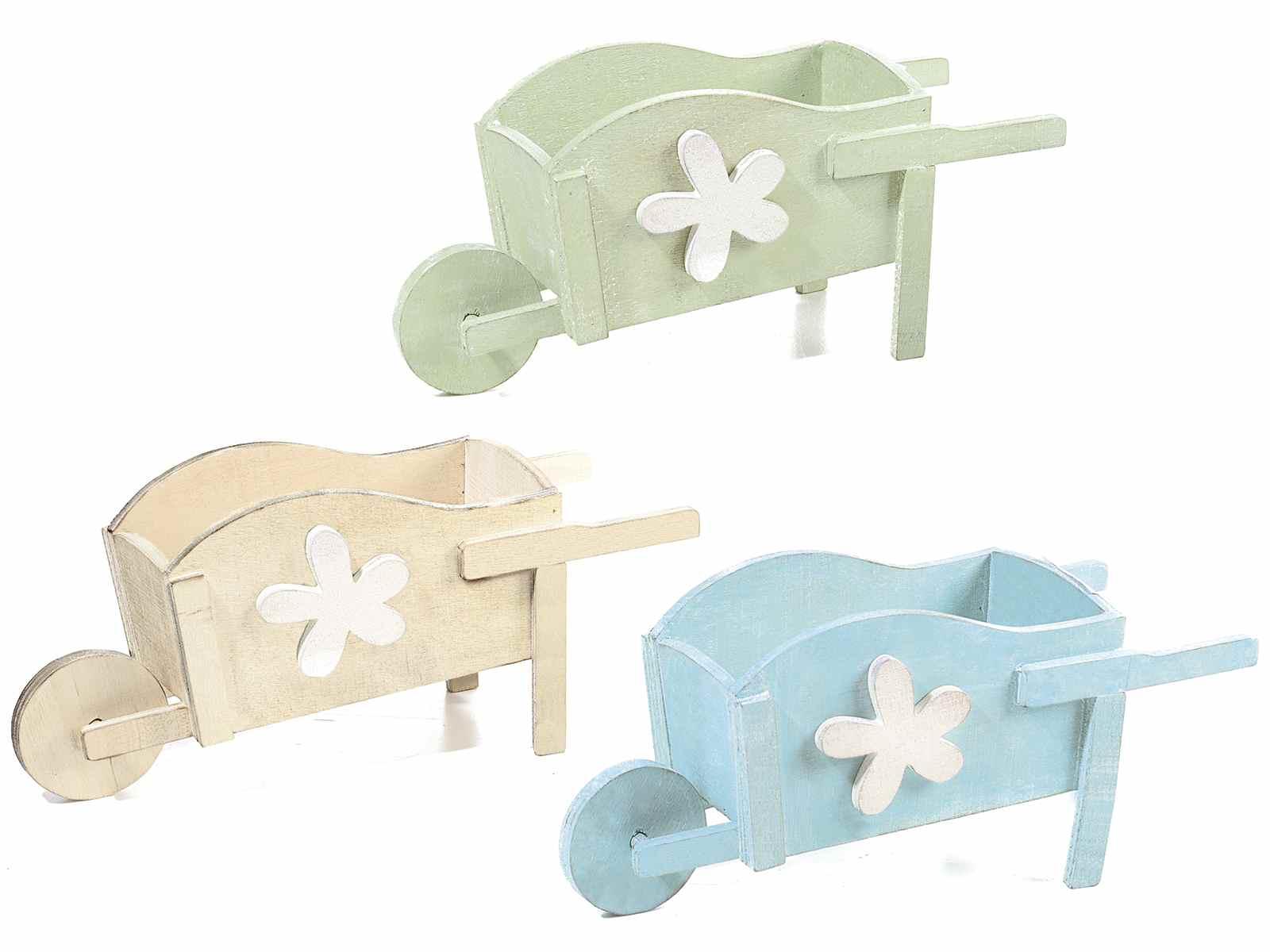 Brouette Decorative En Bois De Couleur Avec Fleur Blanc 51 34 14