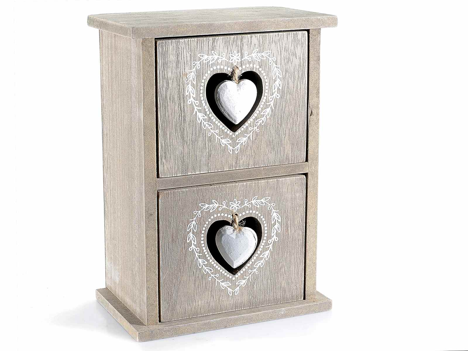 petit chiffonnier en bois avec 2 tiroirs avec coeur d co art from italy. Black Bedroom Furniture Sets. Home Design Ideas