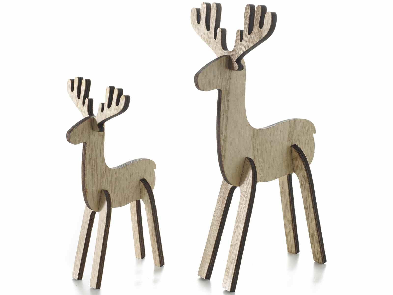 Set 2 rennes en bois naturel emboiter art from italy - Renne de noel en bois ...
