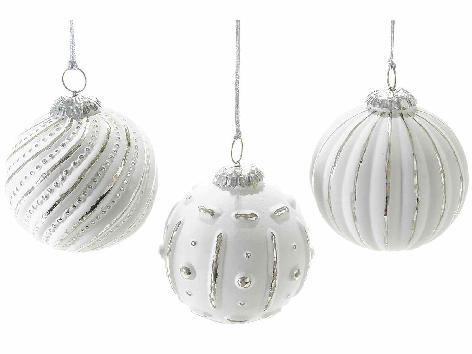 boule de noel suspendre en verre blanc et argent art from italy. Black Bedroom Furniture Sets. Home Design Ideas