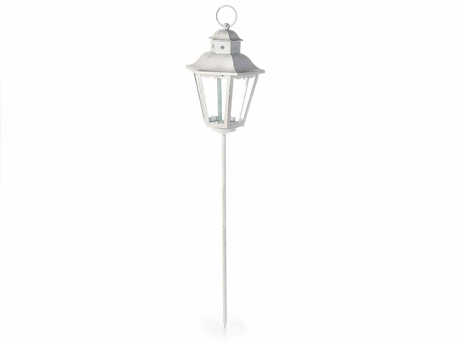 Lampione da giardino in metallo bianco da piantare for Articoli x giardino