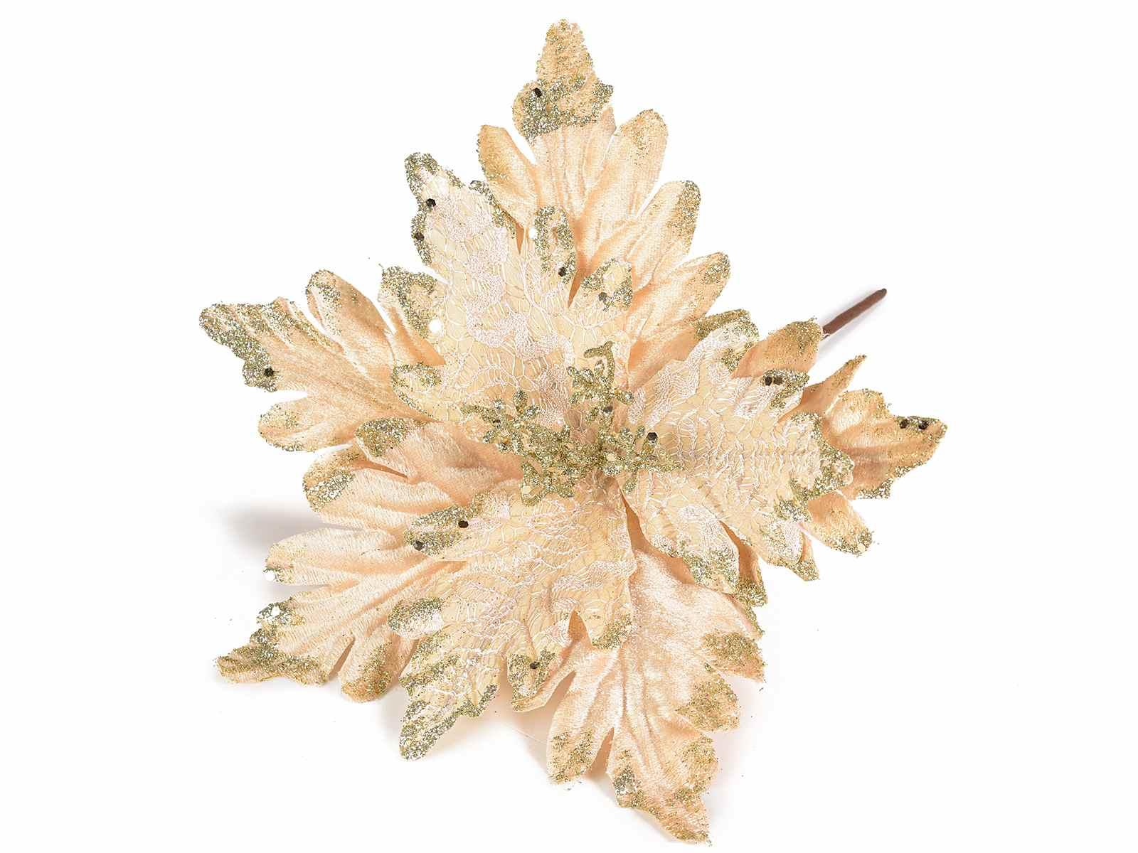 Stella Di Natale In Stoffa.Stella Di Natale Artificiale In Stoffa Con Glitter Oro 56 31 10