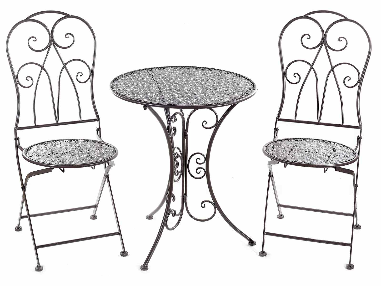 Tavoli E Sedie Da Giardino In Metallo.Set Tavolo E 2 Sedie Da Giardino In Metallo Scuro Traforato 53 21