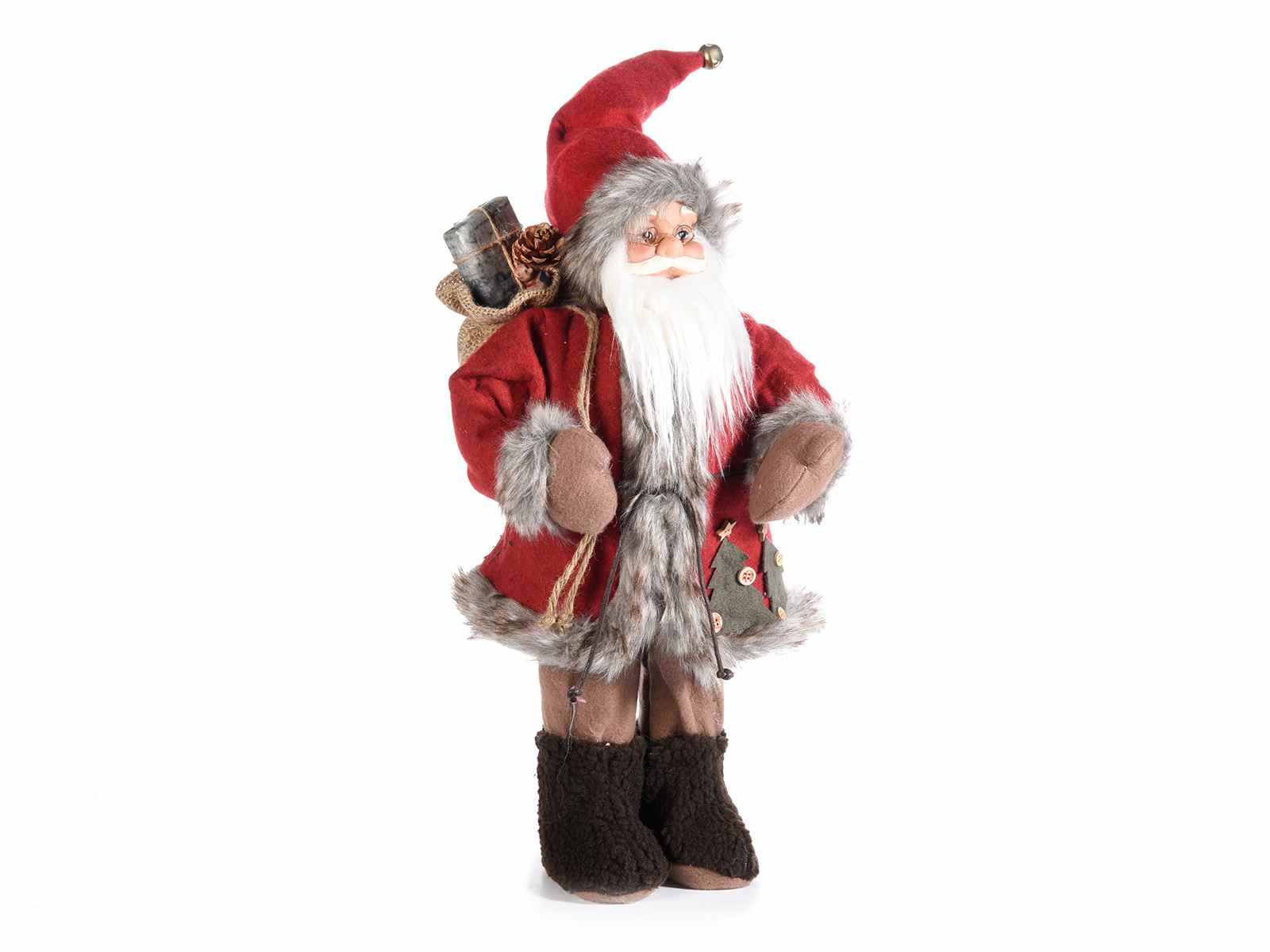 Babbo Natale Italy.Babbo Natale Abito Rosso C Dettagli Finto Pelo E Sacco Doni 54 35