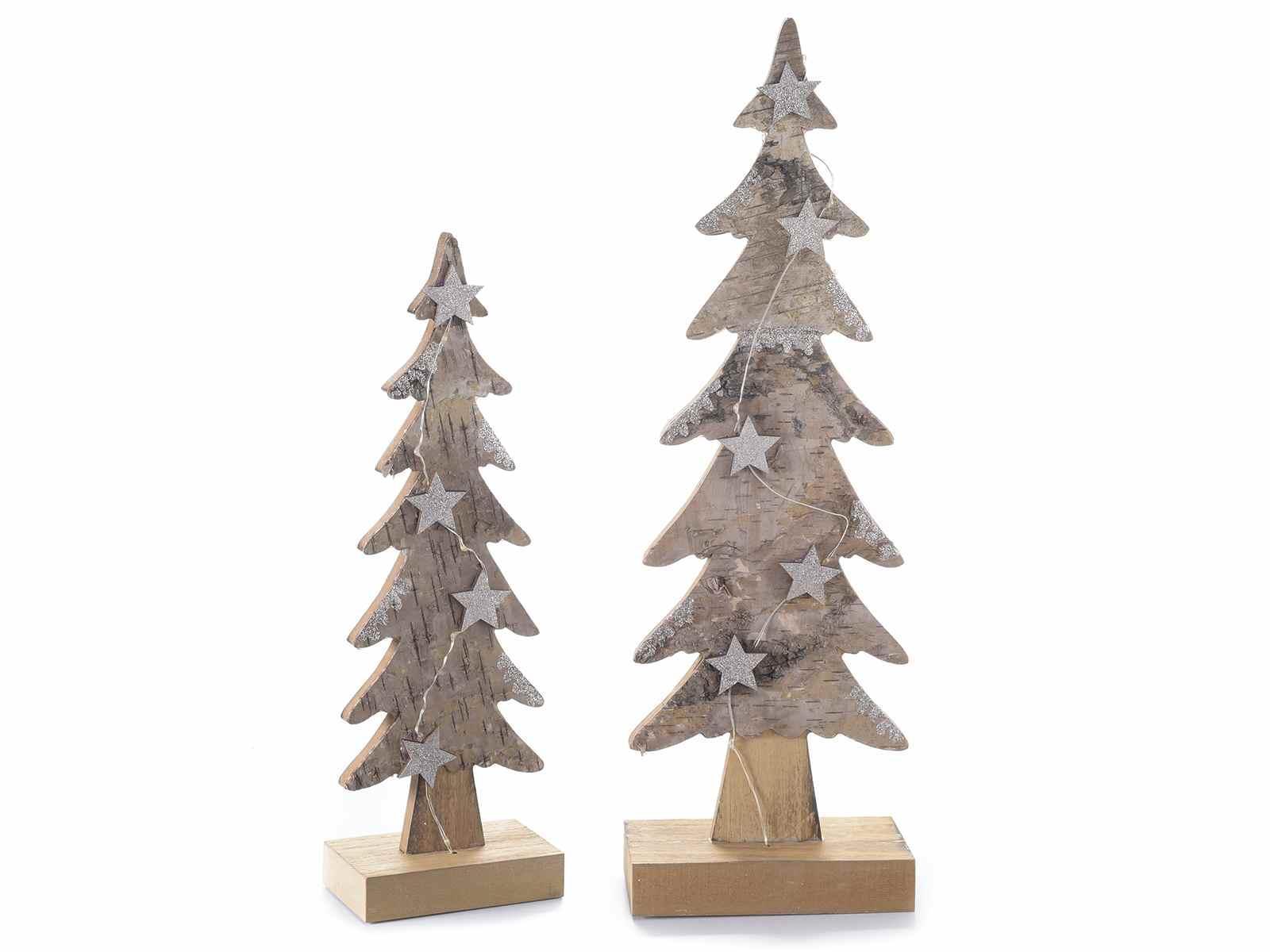 Set 2 alberi di natale in legno e corteccia con luci 51.31.02