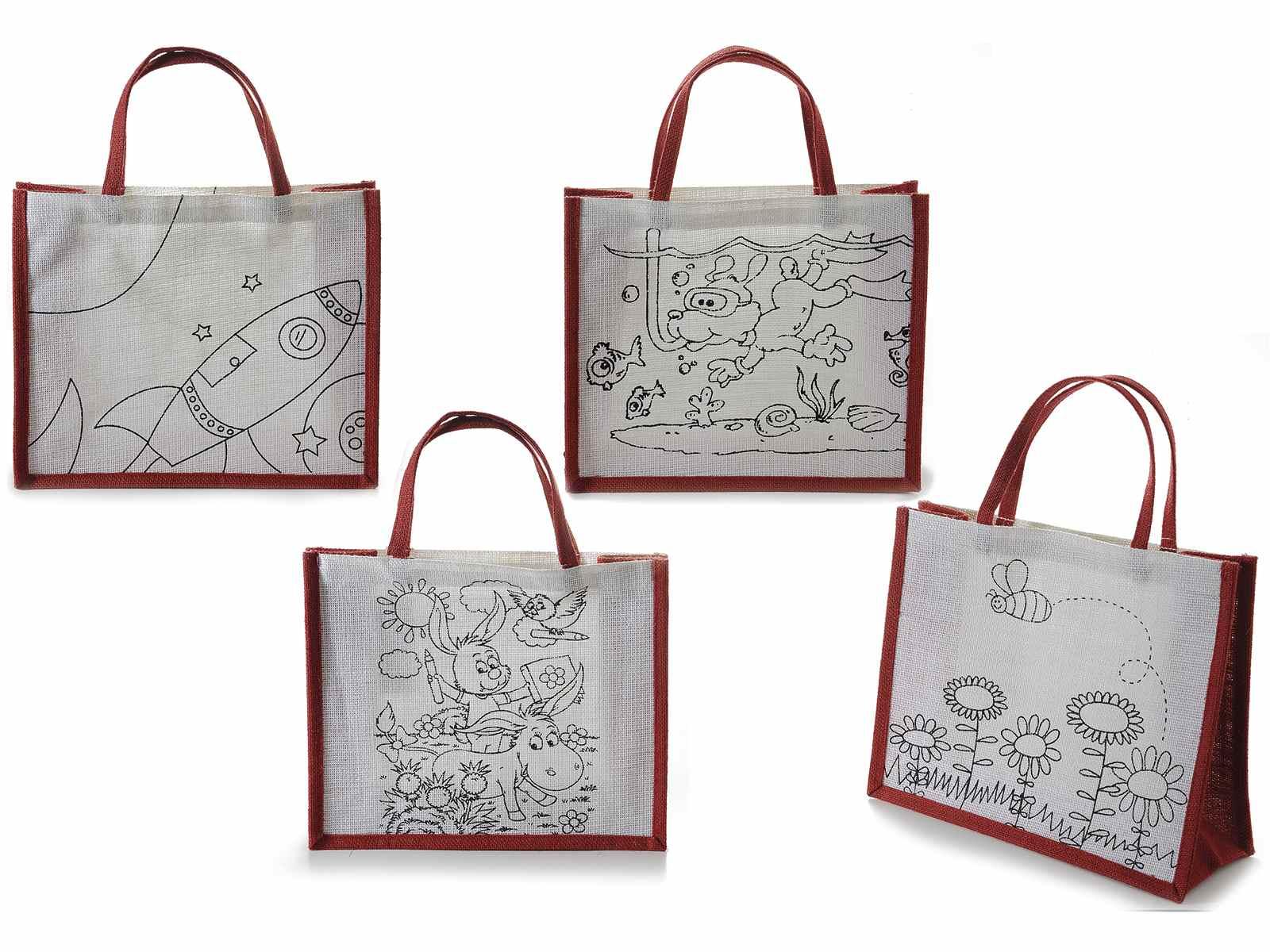 Disegno Bagno Da Colorare : Borsa in juta con disegni da colorare art from italy