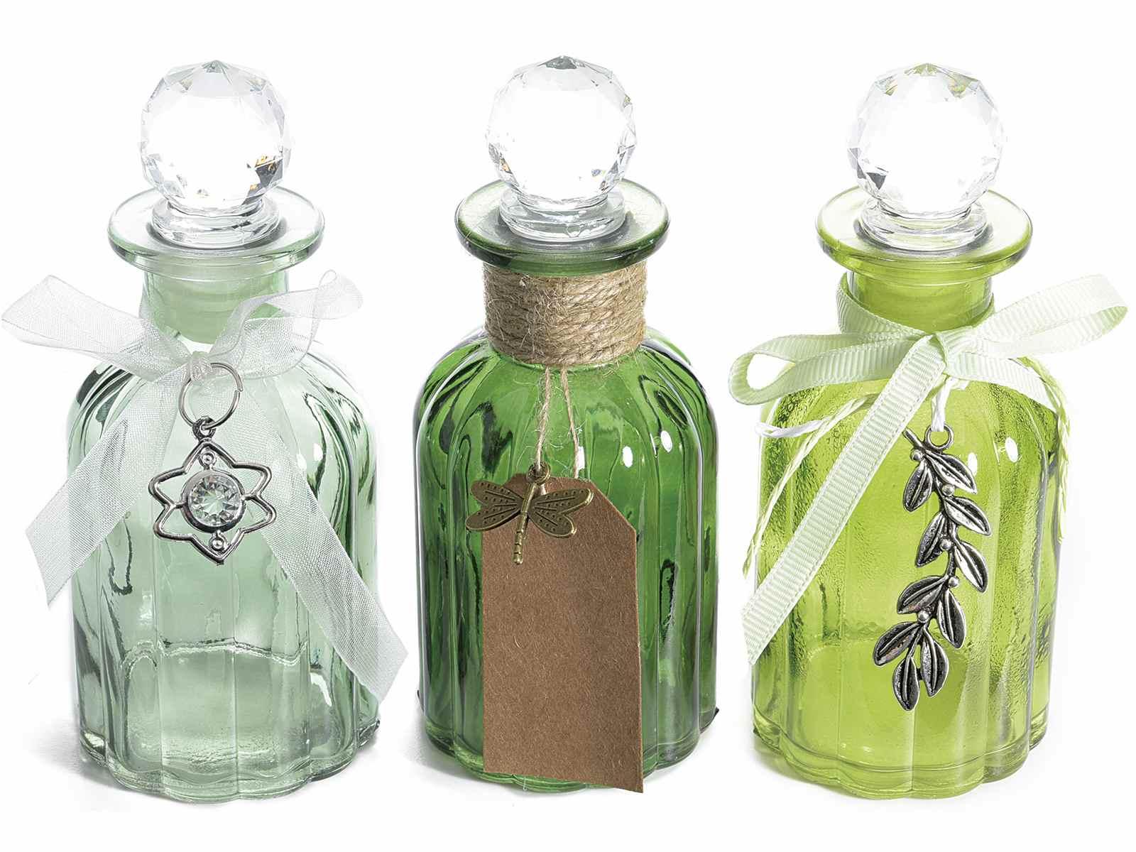 Bottiglietta in vetro colorato c tappo ermetico e pendente - Mobiletti in vetro ...