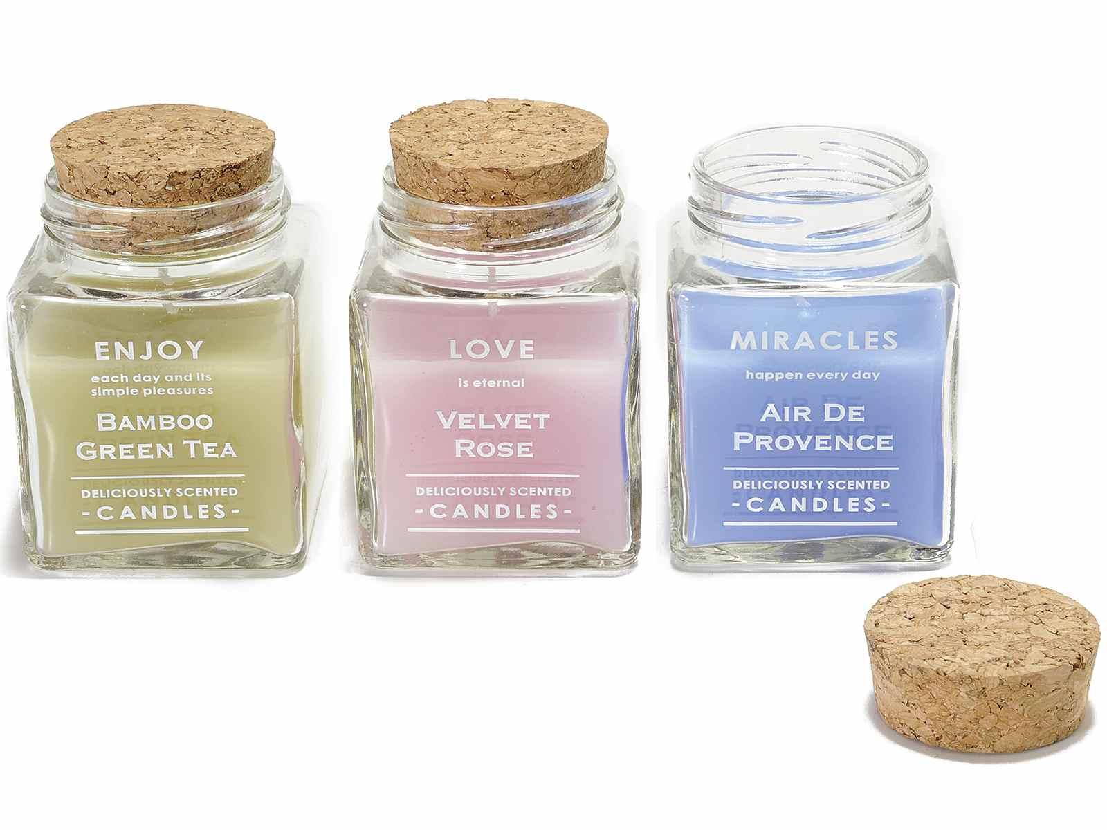 Très Confezione 3 candele profumate in vasetto di vetro (14.11.39  ES36