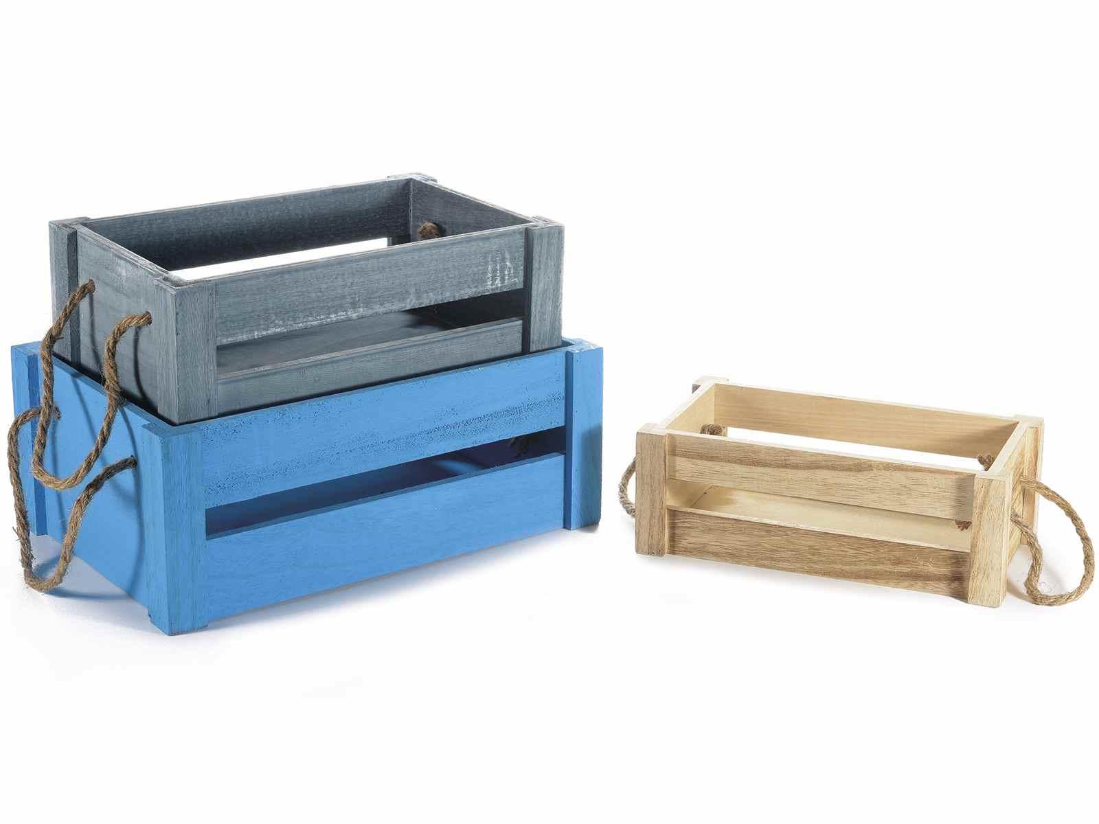 spesso Set 3 cassette in legno colorato e manici in corda (51.34.45  GP58