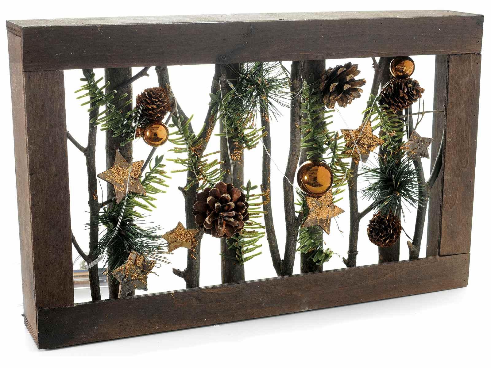 Cornice in legno c stelle pigne palline e luci 51.29.99 art from