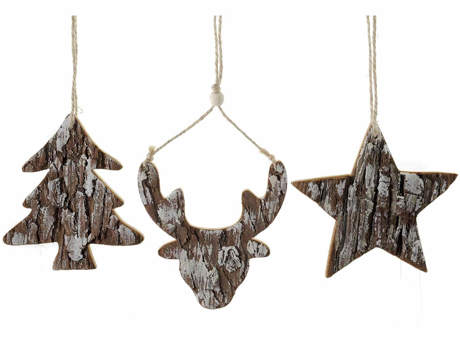 Decorazioni In Legno Natalizie : Decorazione natalizia legno effetto corteccia da appendere