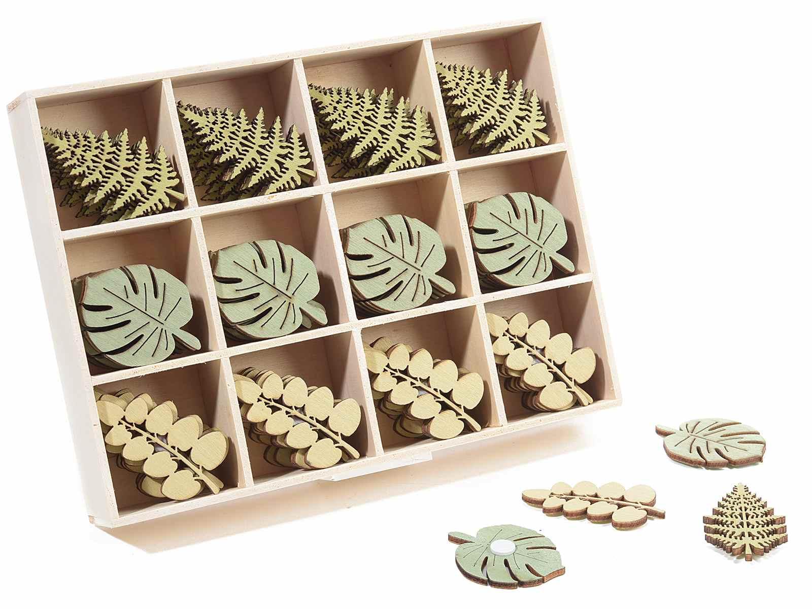 Scatola 96 decorazioni in legno a foglia con adesivo 51 - Decorazioni in legno ...