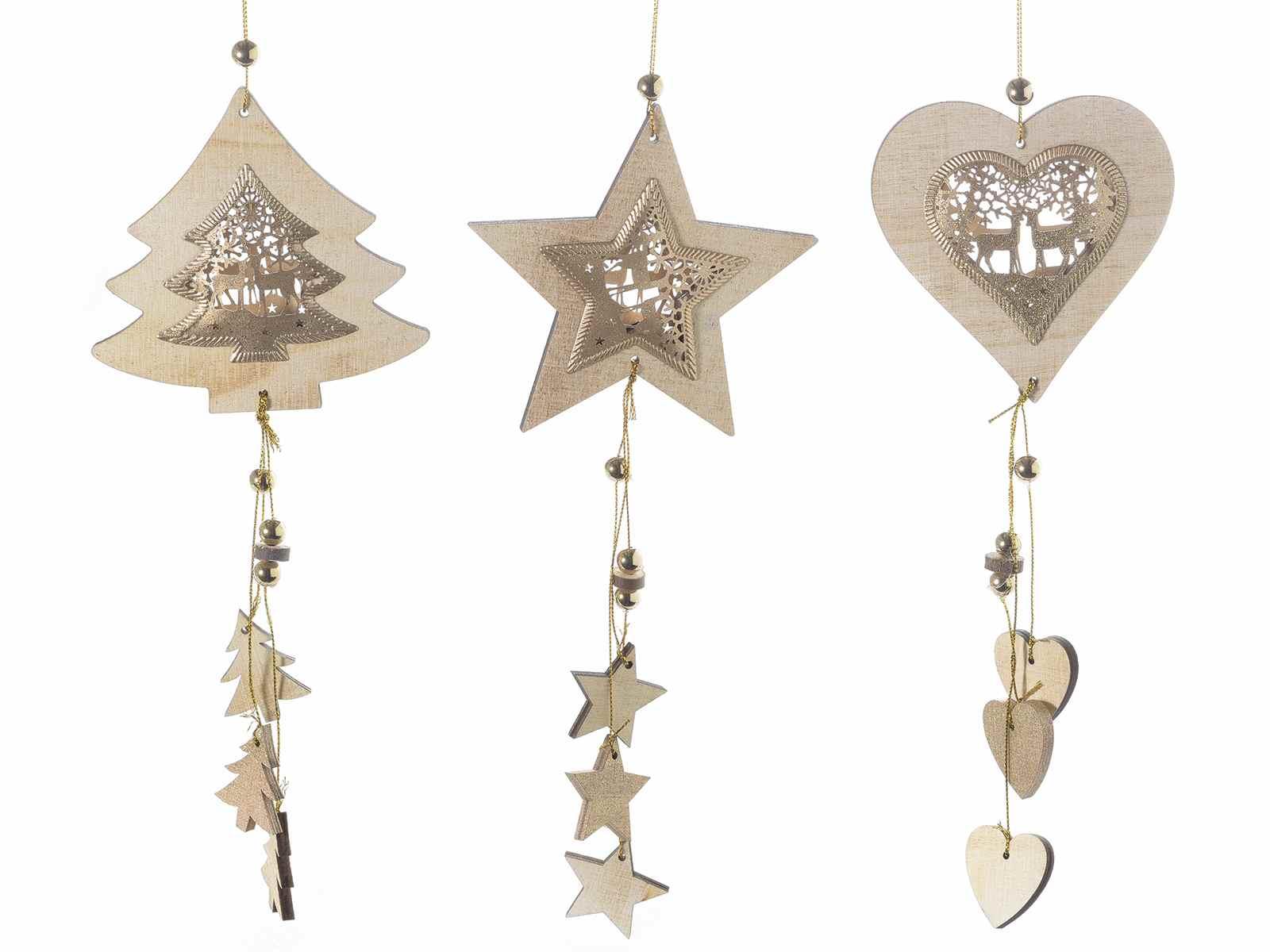 Decorazione natalizia in legno da appendere con pendenti - Decorazioni natalizie con legno ...