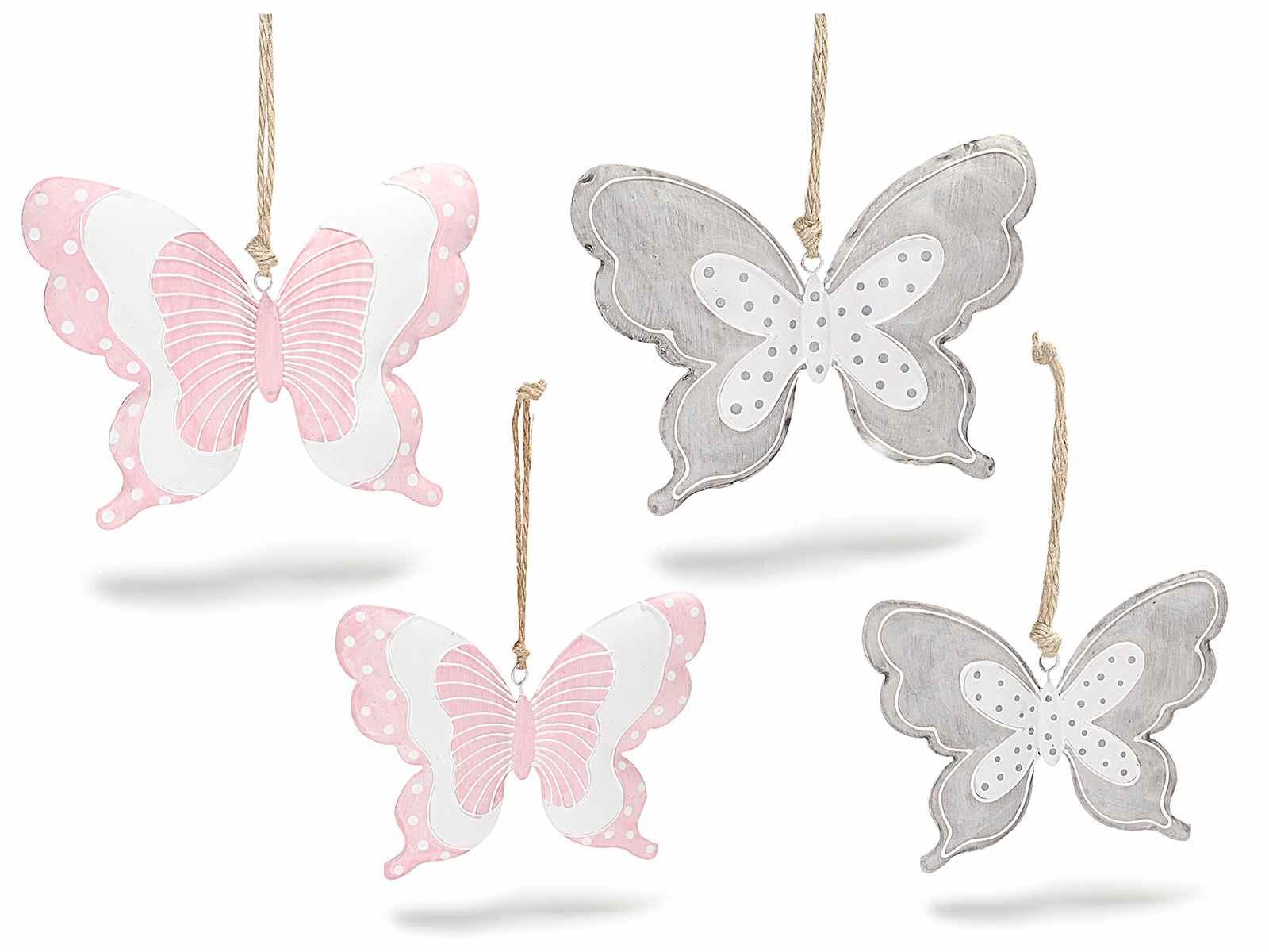 Molto Set 4 farfalle da appendere in metallo colorato (53.18.56) - Art  WL79