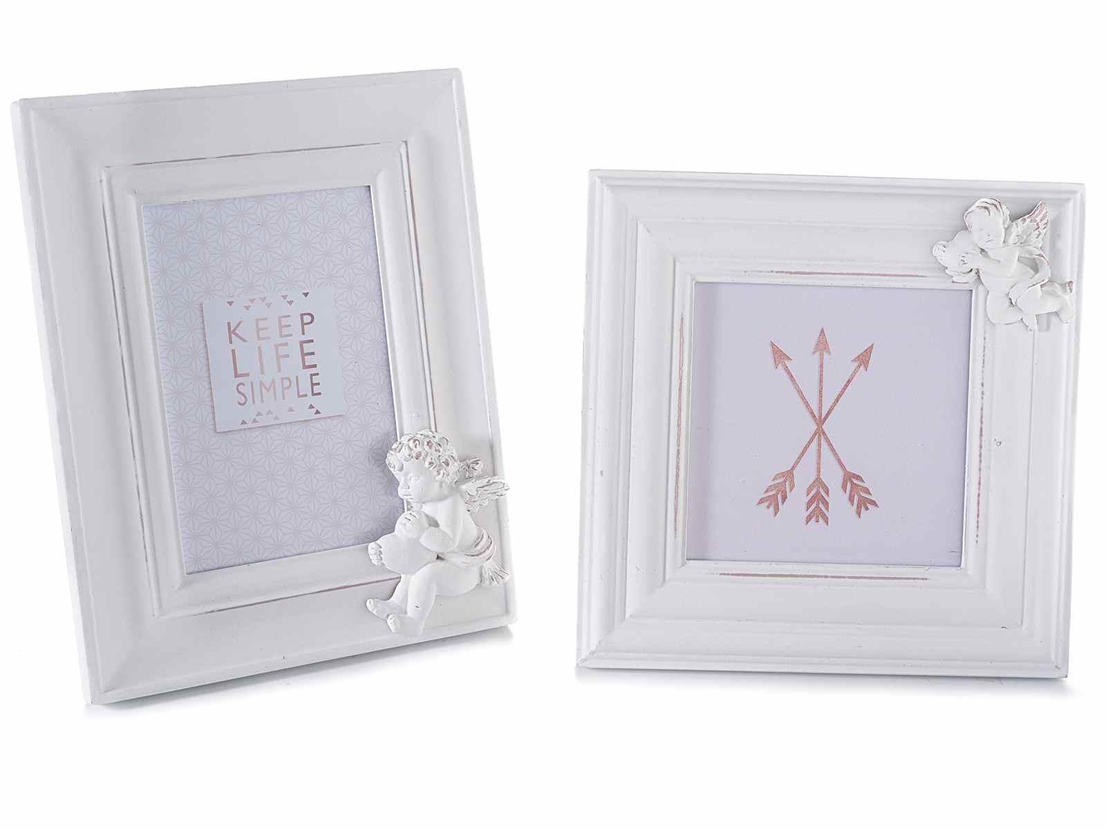 Set 2 cornici portafoto in legno bianco con angioletto 51 for Cornici portafoto