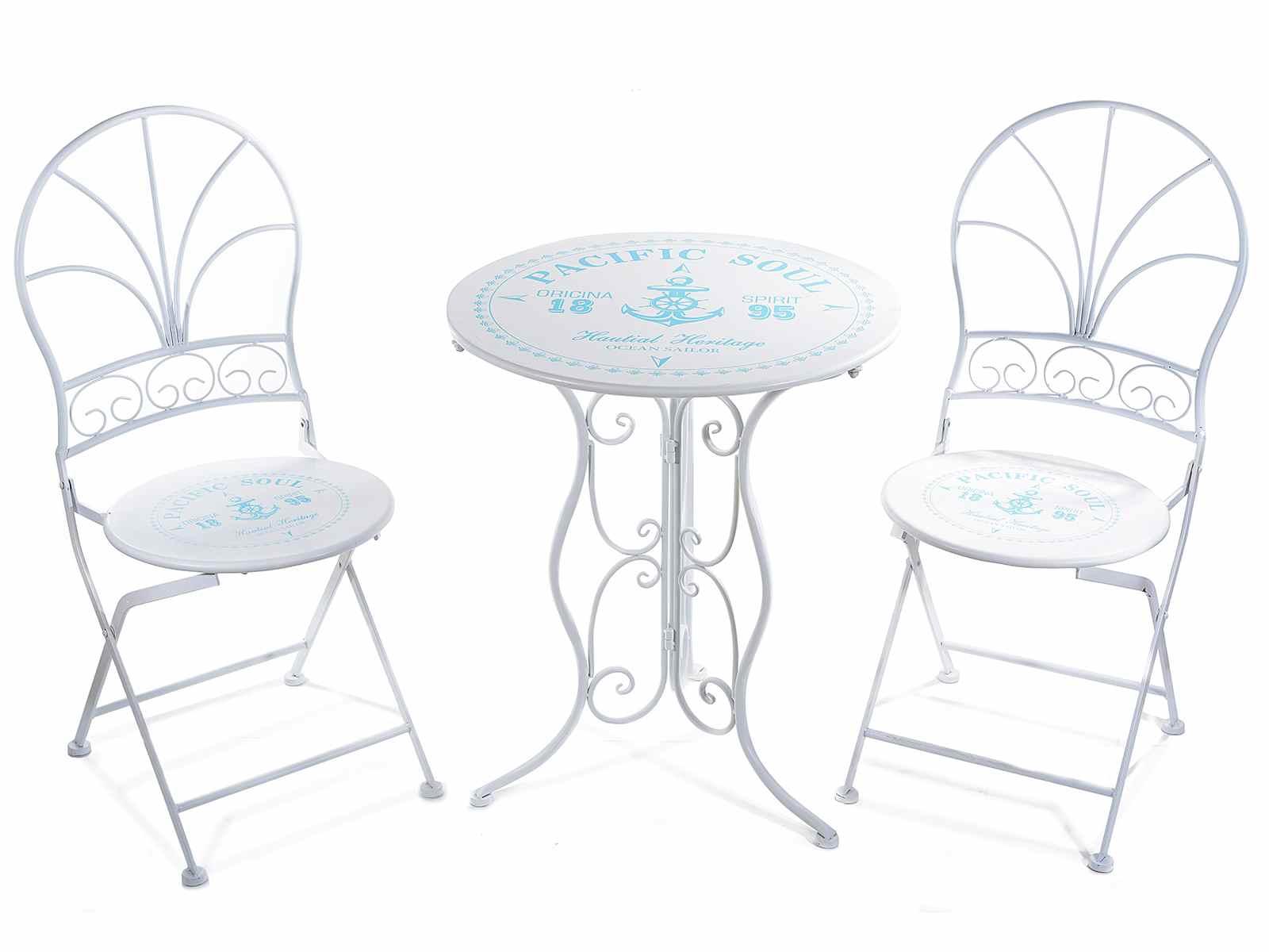 Set tavolo e sedie in metallo bianco con decori marini