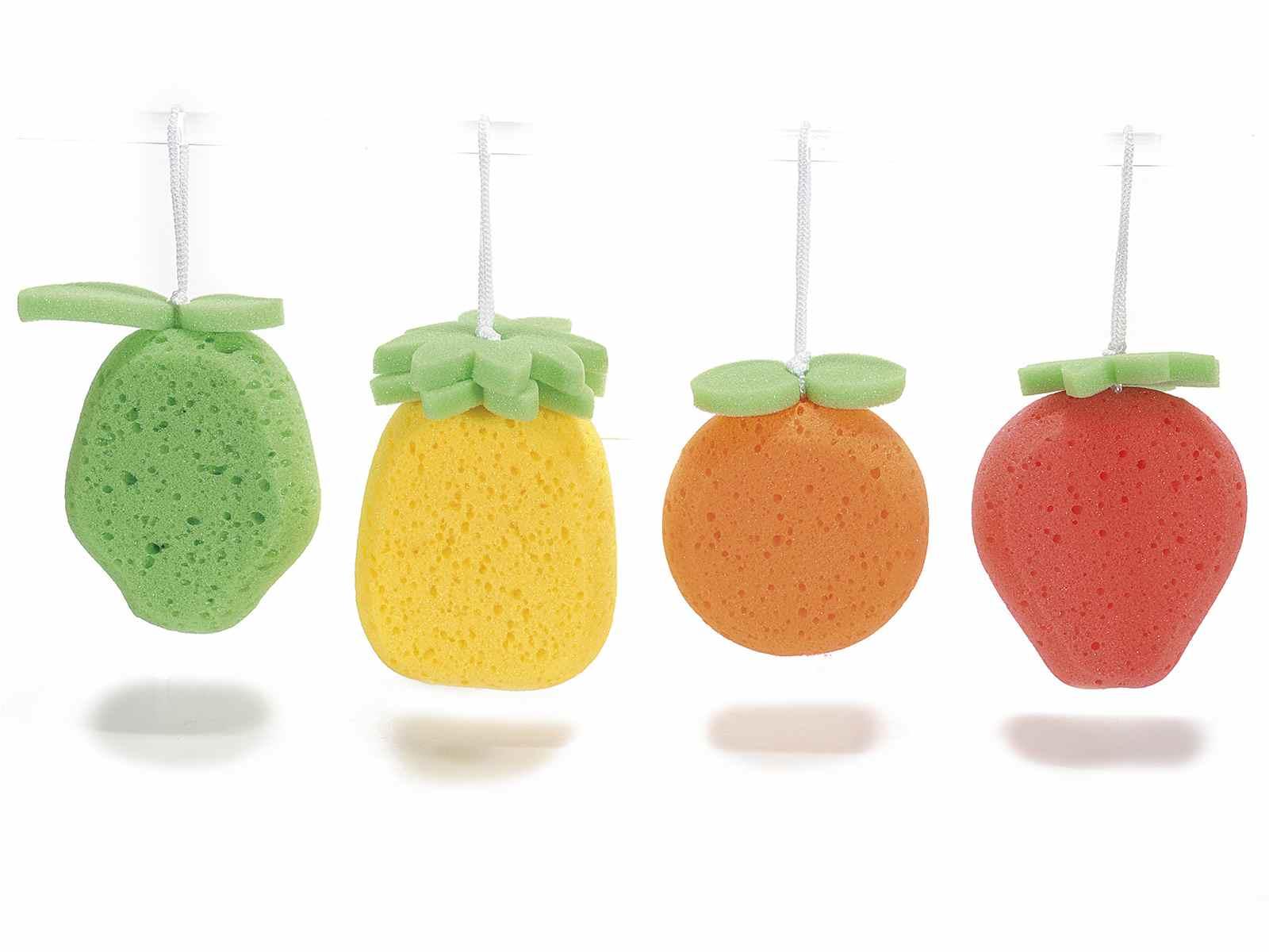 spugne da bagno a forma di frutta con cordino misure cm 99 x 9 x 135 h con cordino 19 h materiale spugna a950311