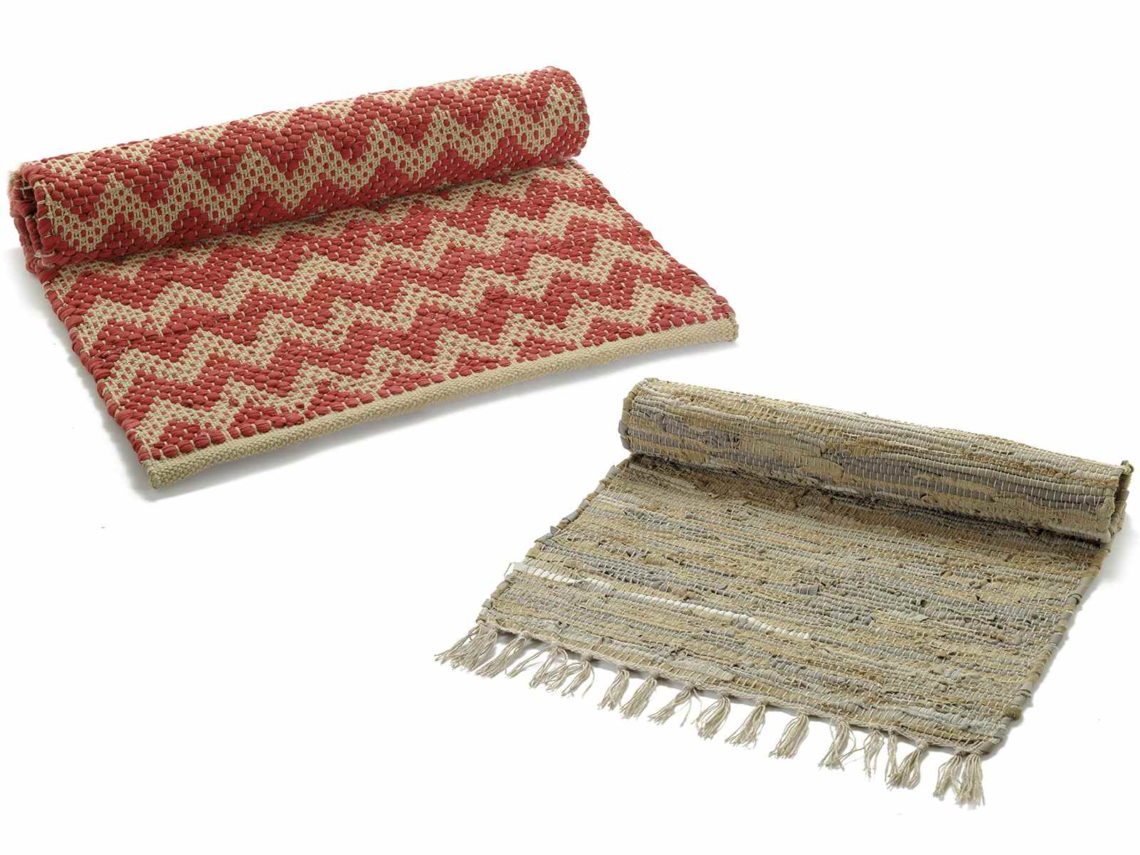 Tappeto in cotone, pelle e corda (45.01.18) - Art From Italy
